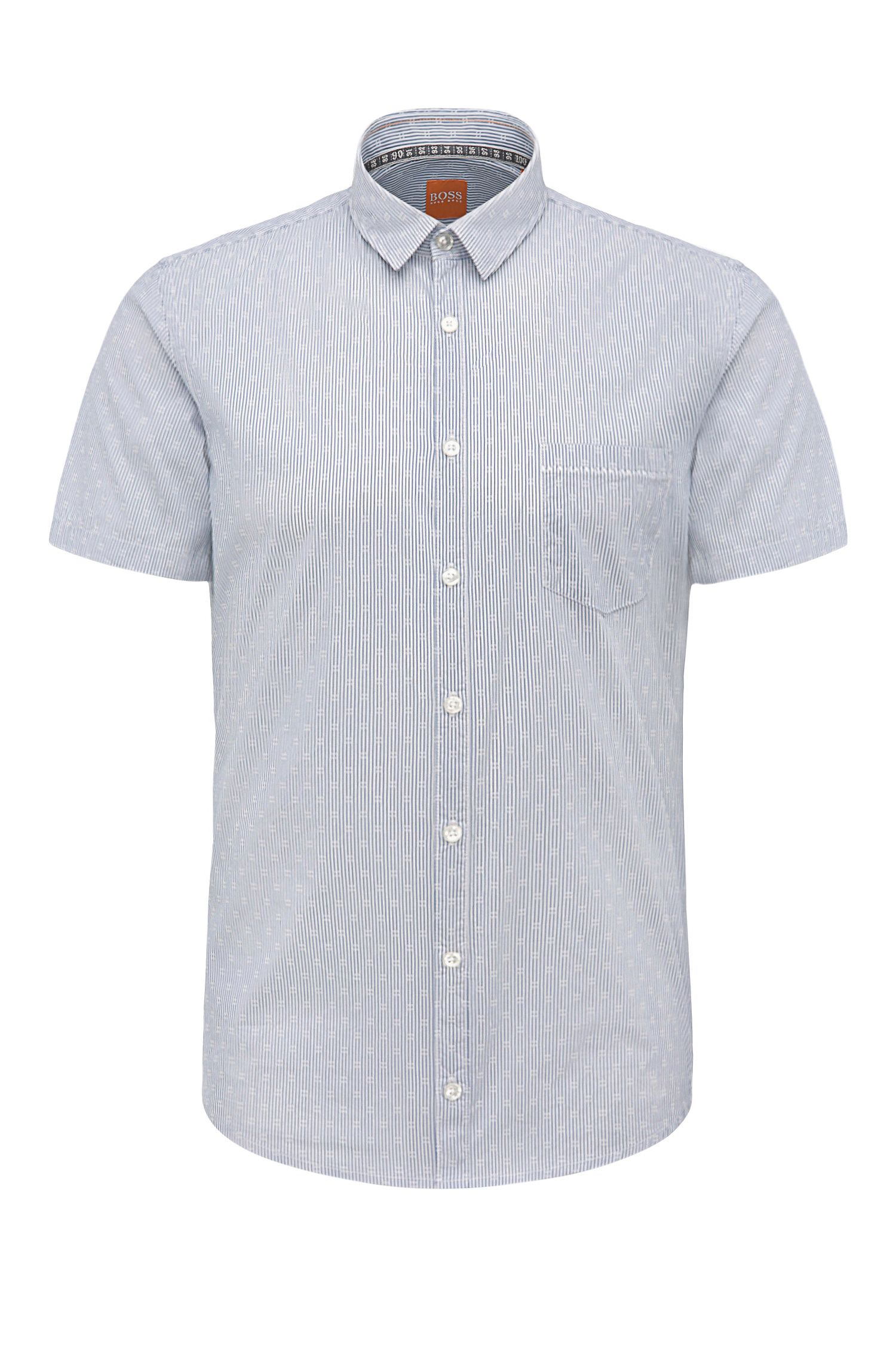 Extra slim-fit short-sleeved shirt in a striped stretch cotton blend: 'Eglam-short'