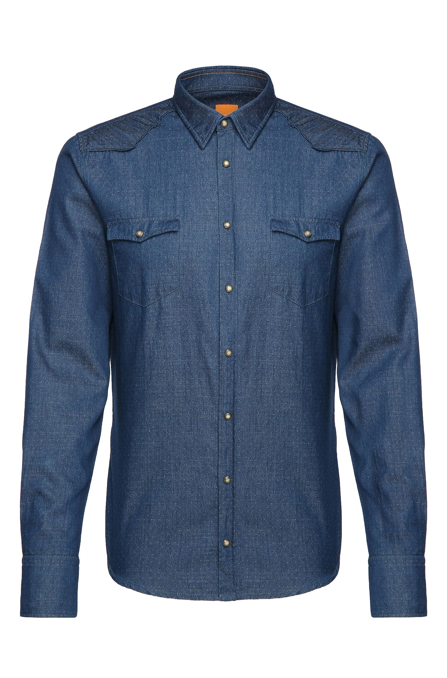 Polka dot pattern slim-fit jeans shirt in cotton: 'Erodeo'