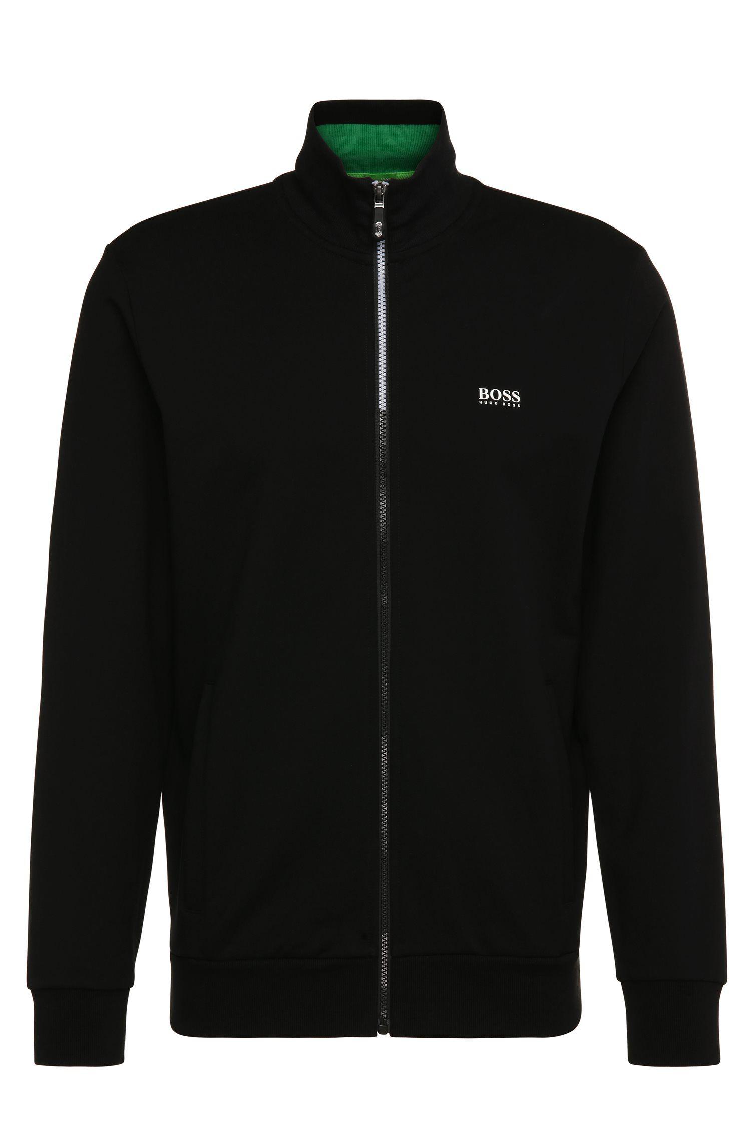Regular-fit sweatshirt jacket in stretch cotton: 'Skaz 1'