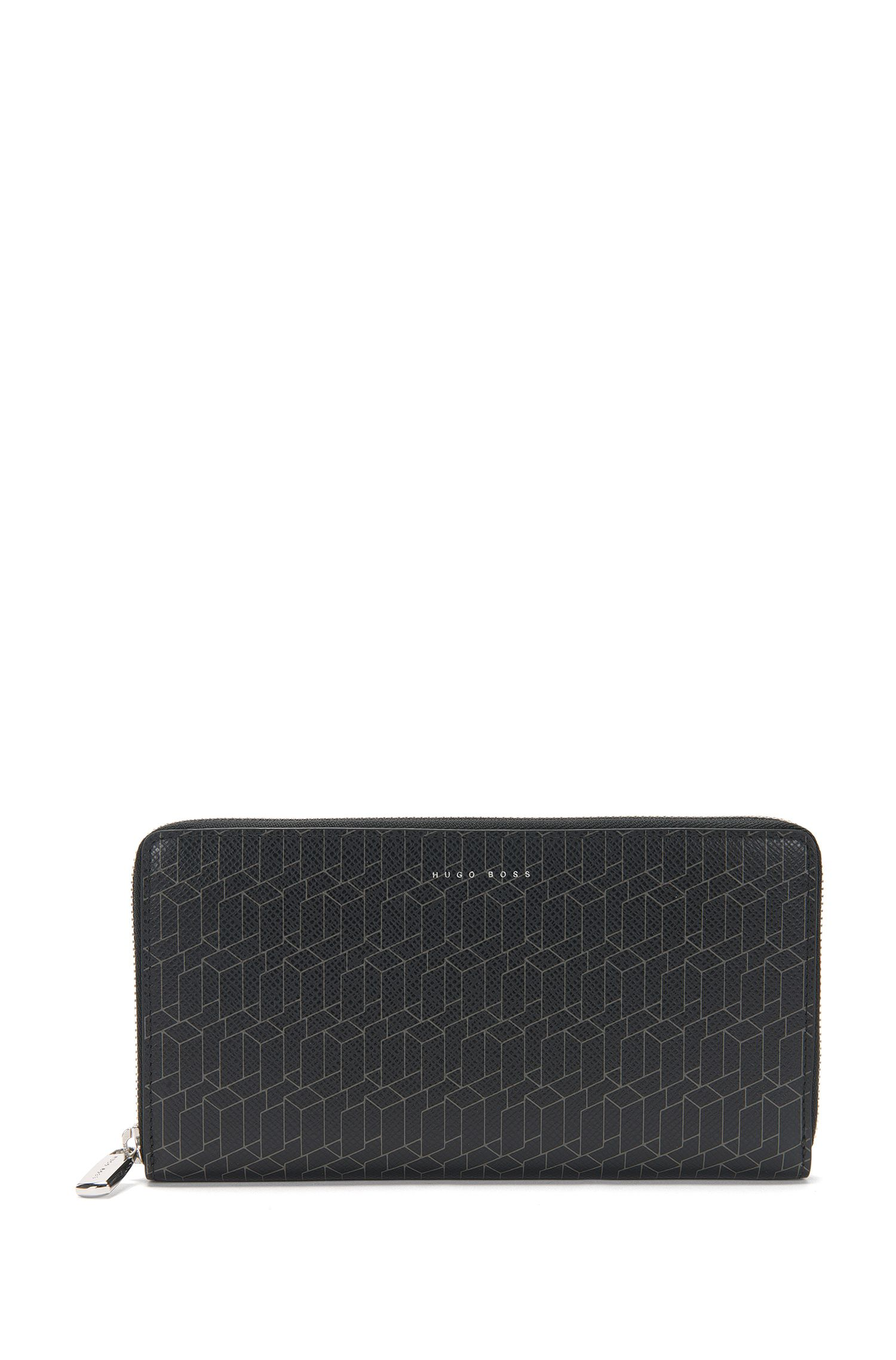 Leather wallet with geometric pattern: 'Signature H_S zip tr'
