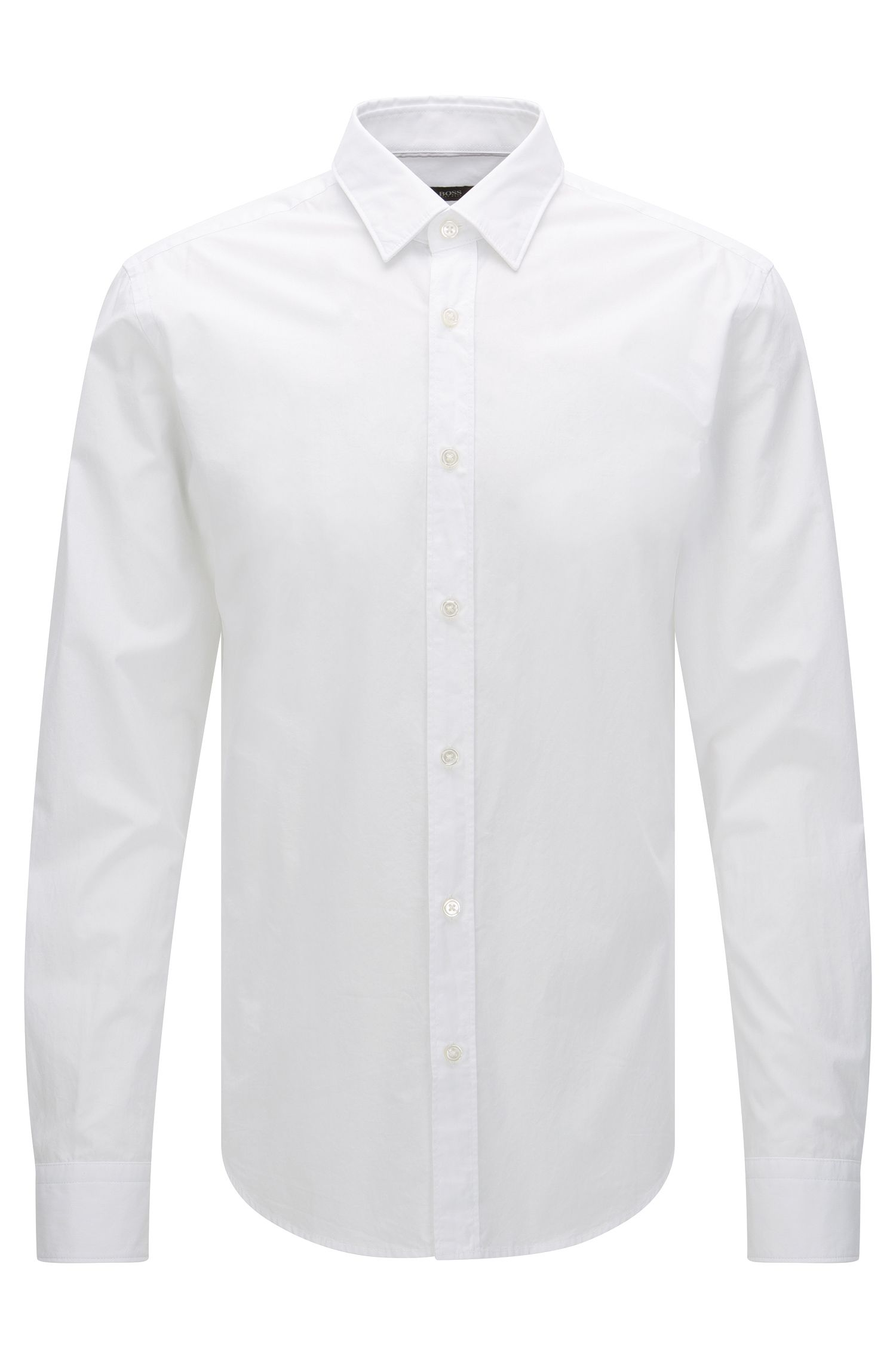 Plain slim-fit shirt in pure cotton: 'Ronni'