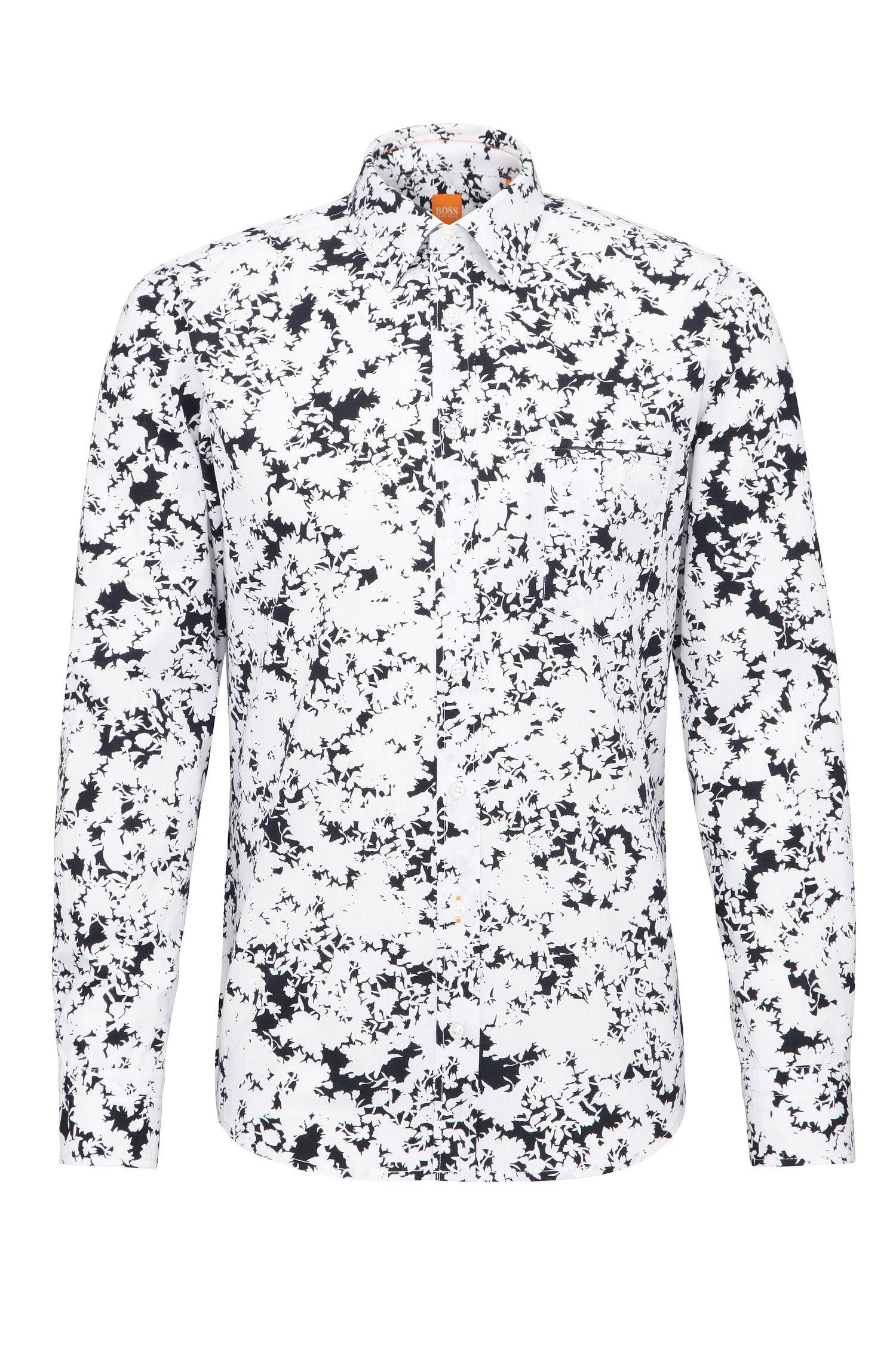 Gemustertes Regular-Fit Hemd aus Baumwolle: ´Classy`