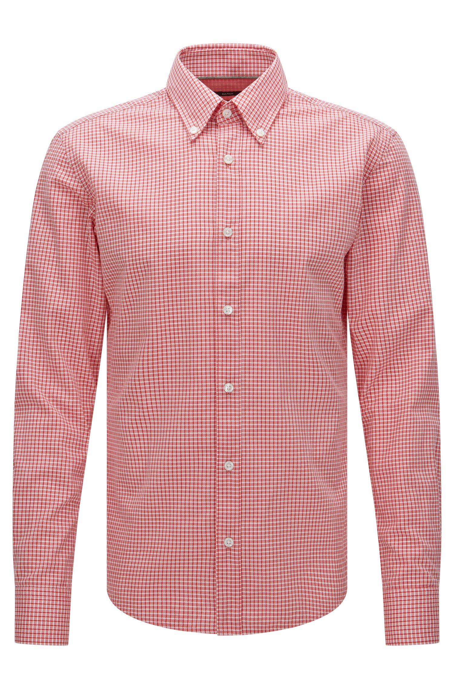 Camicia slim fit in misto cotone e lyocell a quadri: 'Rubens_34'
