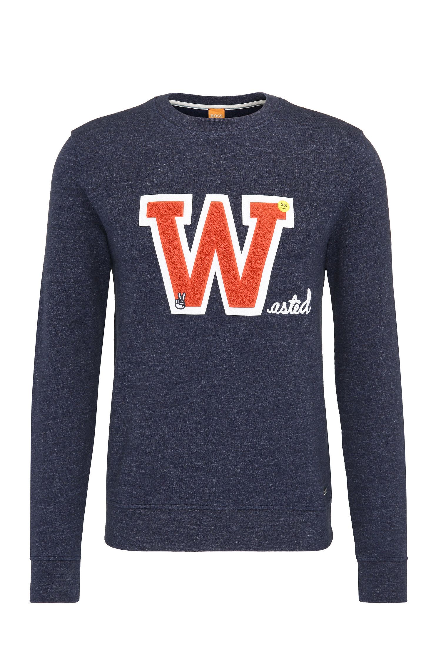 Regular-fit sweatshirt van katoen met patch op de voorkant: 'Wariety'