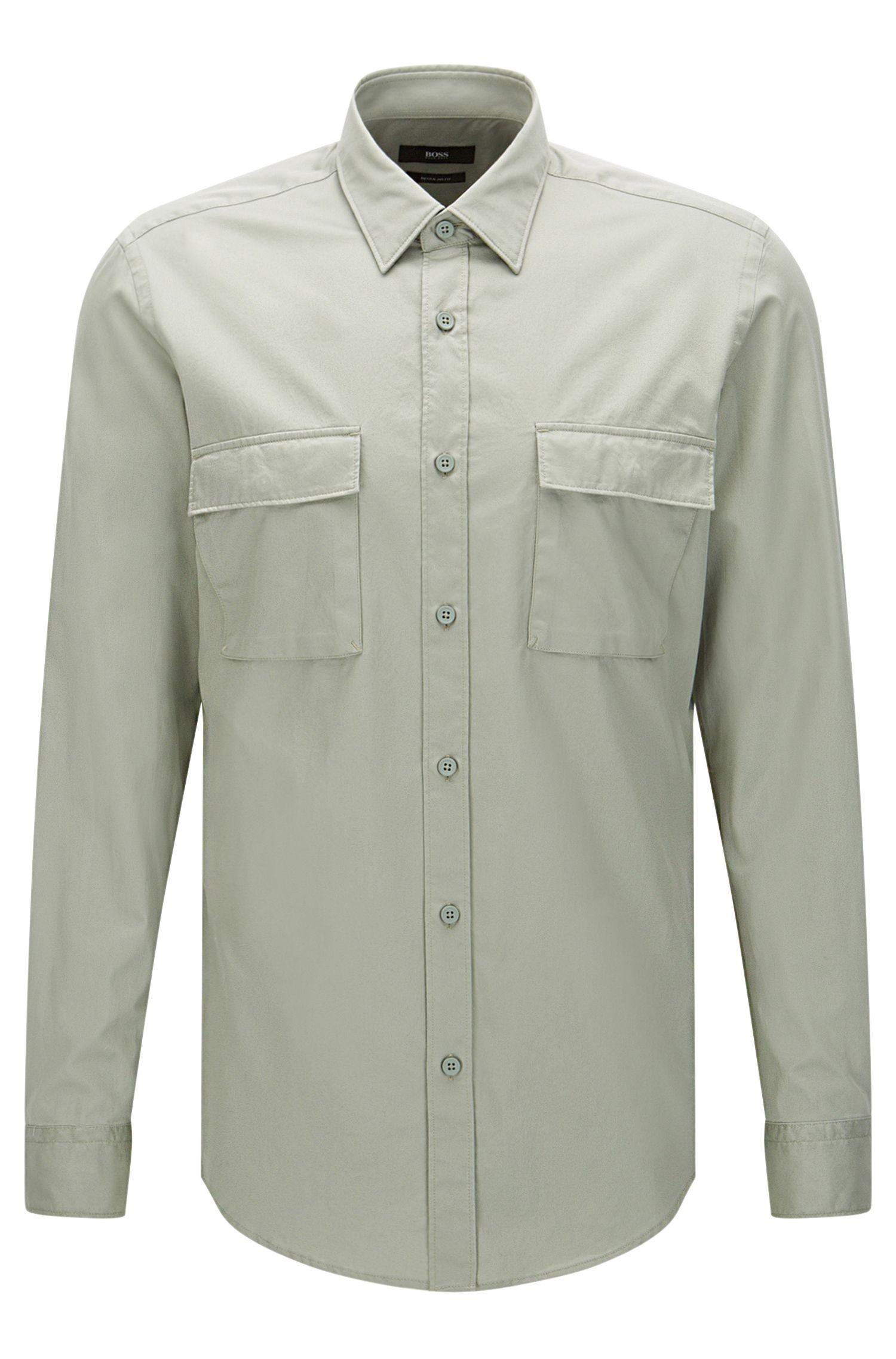 Regular-fit overhemd van katoen met opgezette borstzakken: 'Lorin'