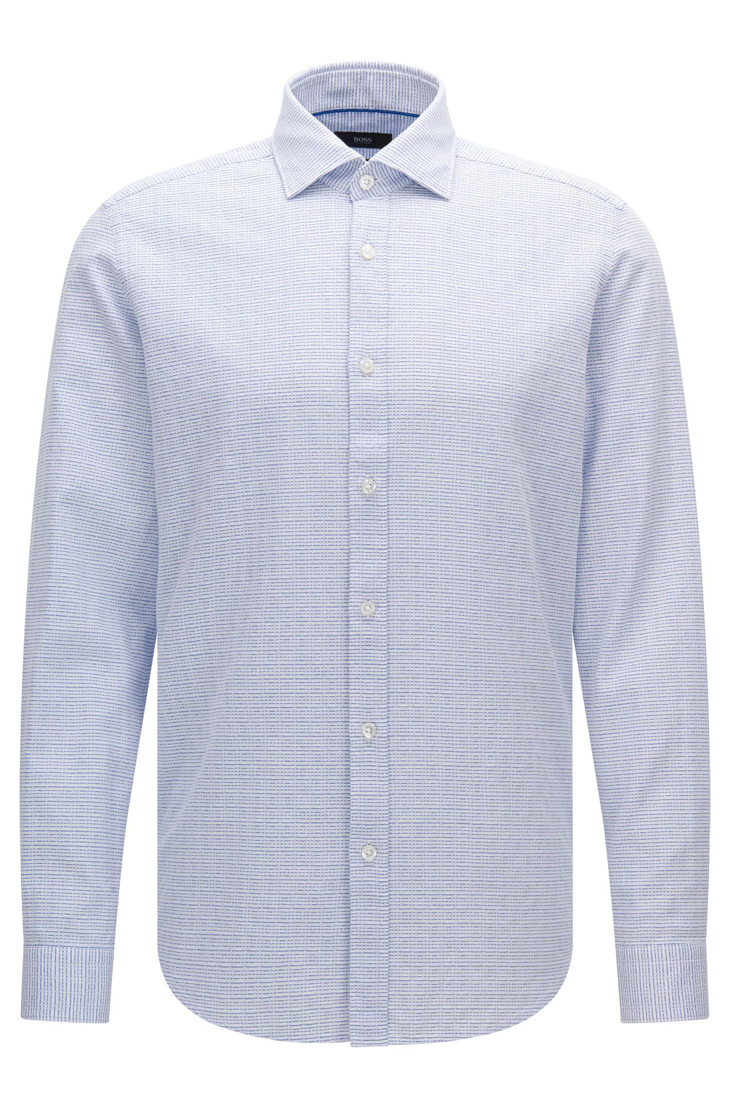 Camicia slim fit in cotone con motivo a righe: 'Luther'