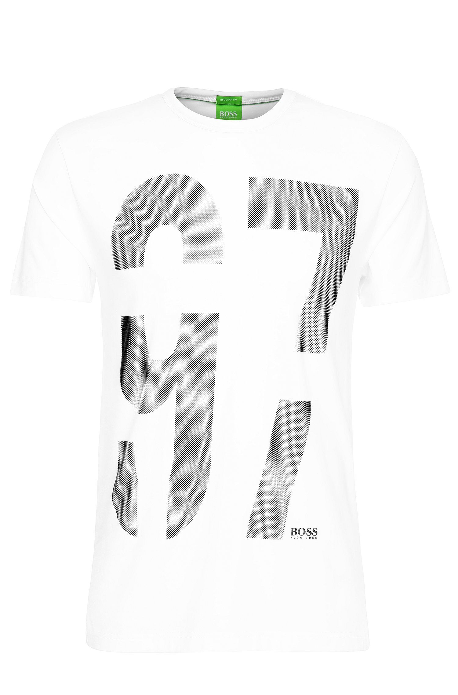 Regular-fit shirt van stretchkatoen met print: 'Tee 11'