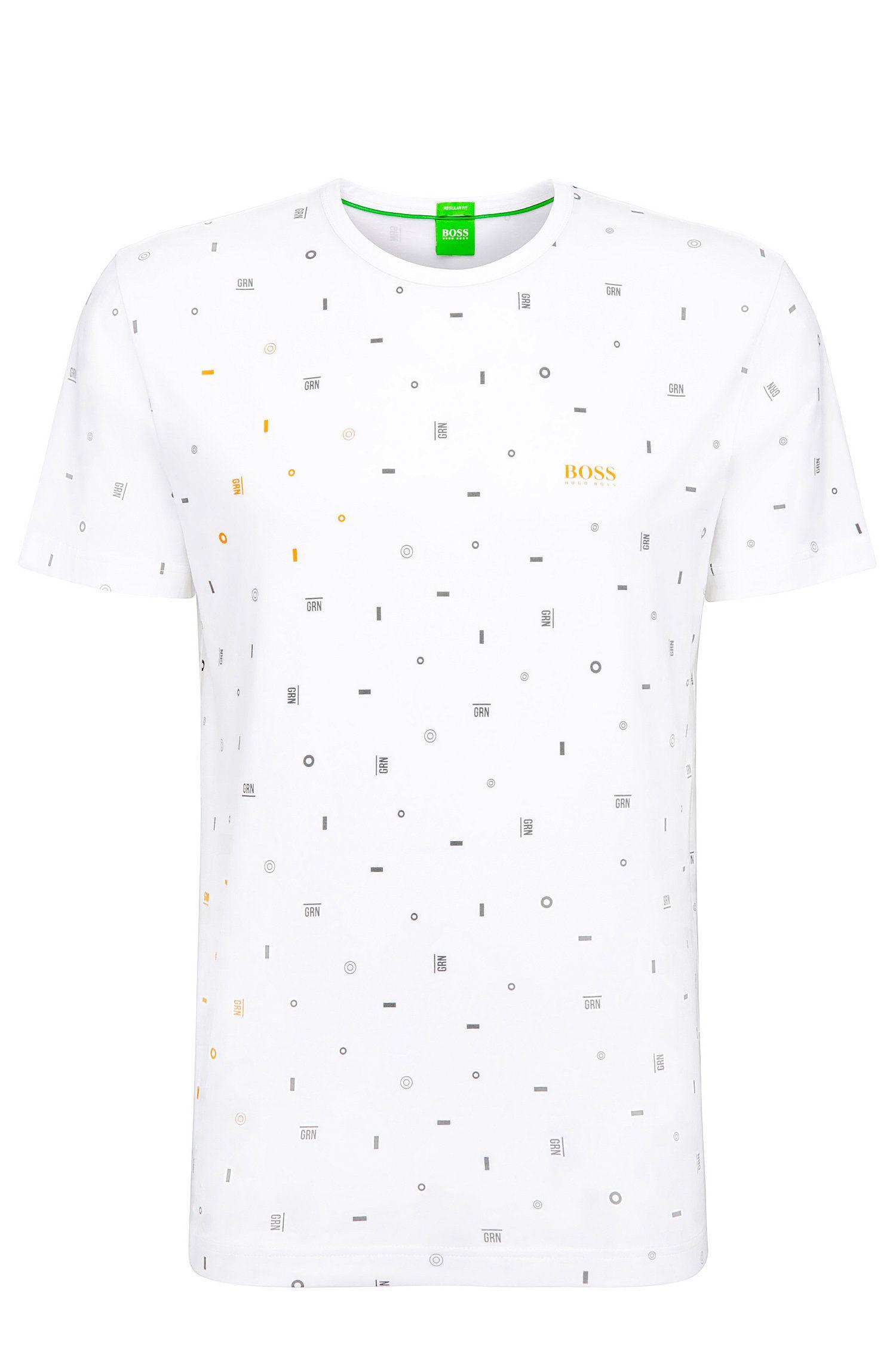 T-shirt Regular Fit en coton mélangé stretch à motif graphique: «Tee7»