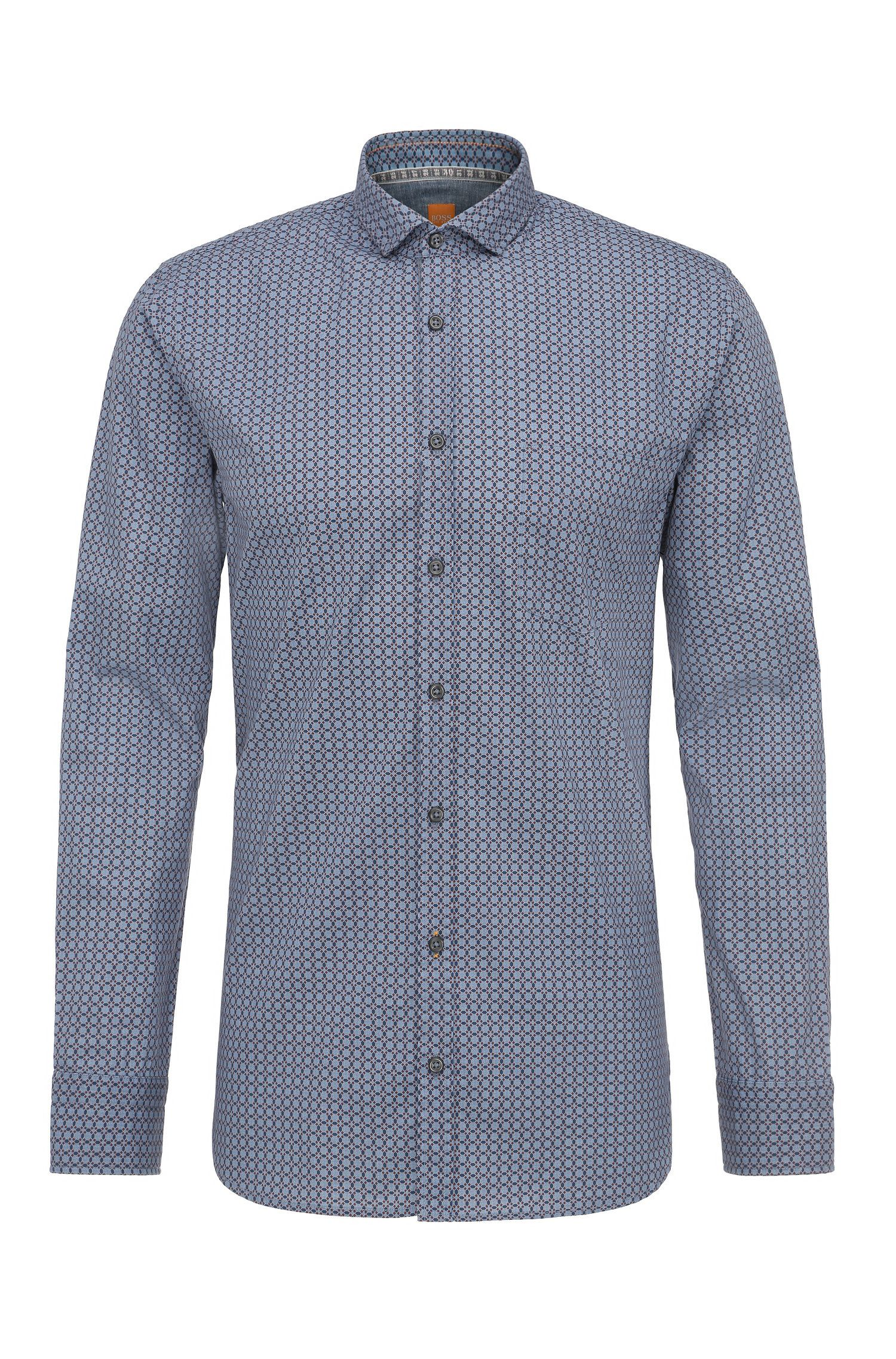 Patterned slim-fit shirt in cotton: 'Cattitude'