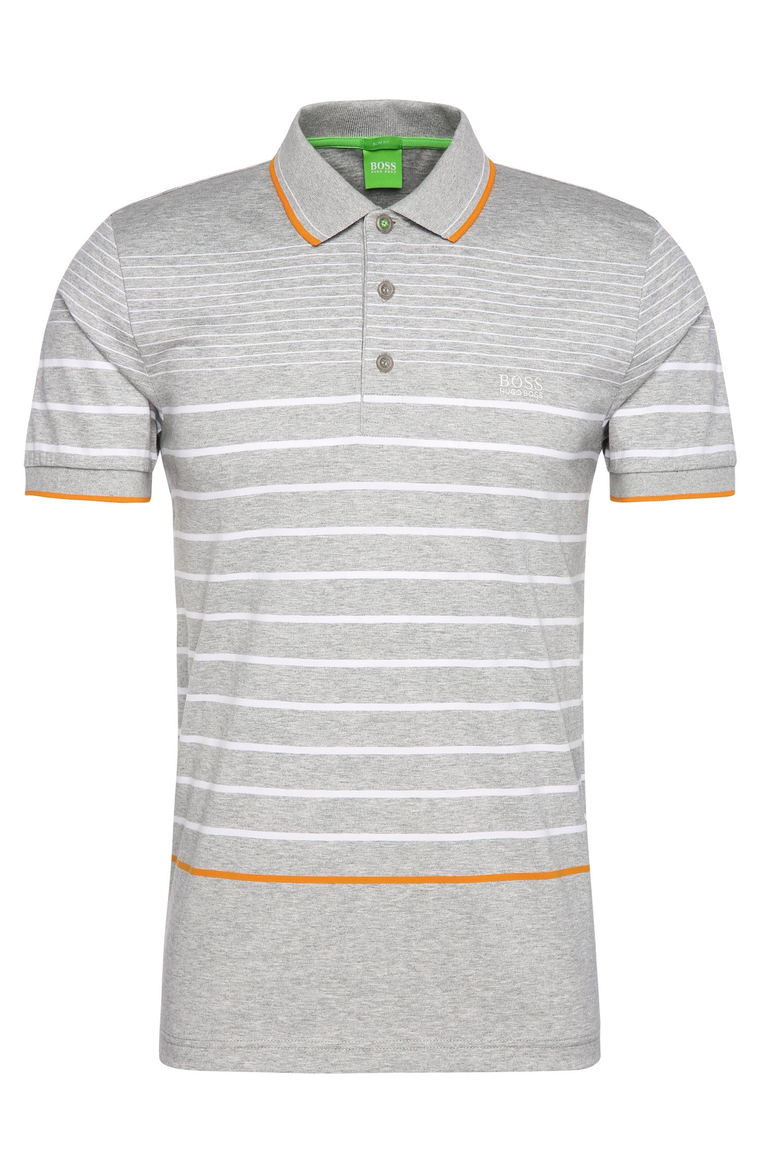 Striped slim-fit polo shirt in cotton: 'Paule 2'