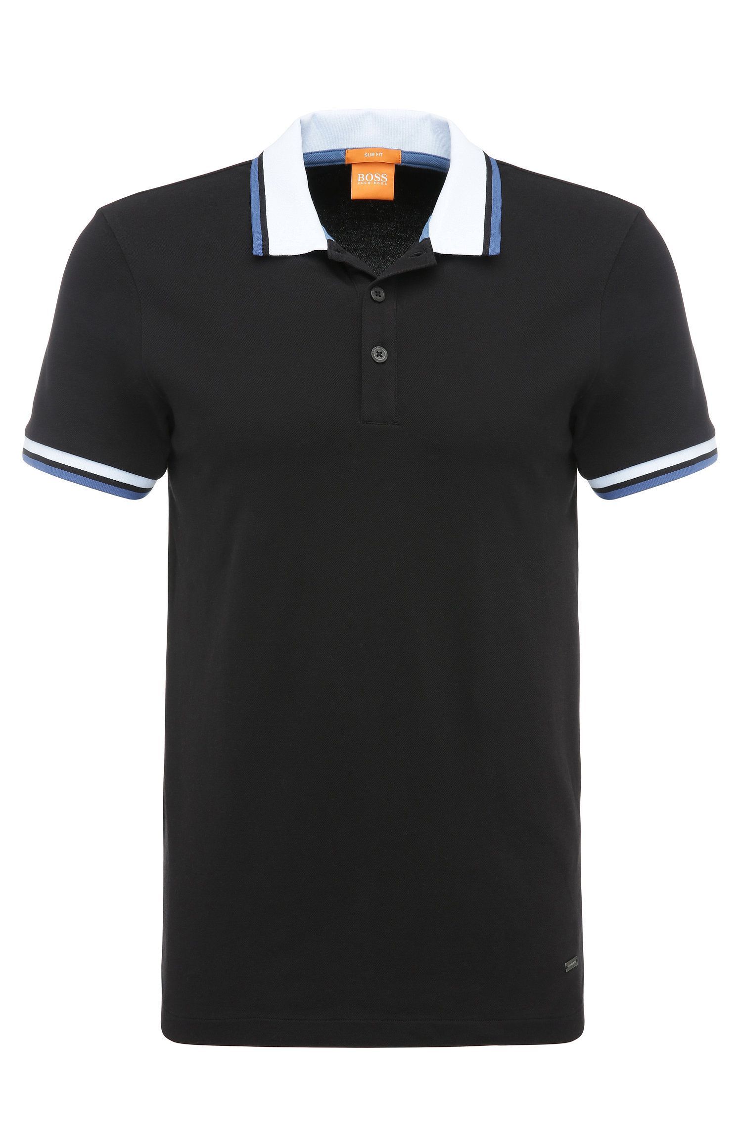 Slim-fit polo shirt in stretchy cotton: 'Pay'