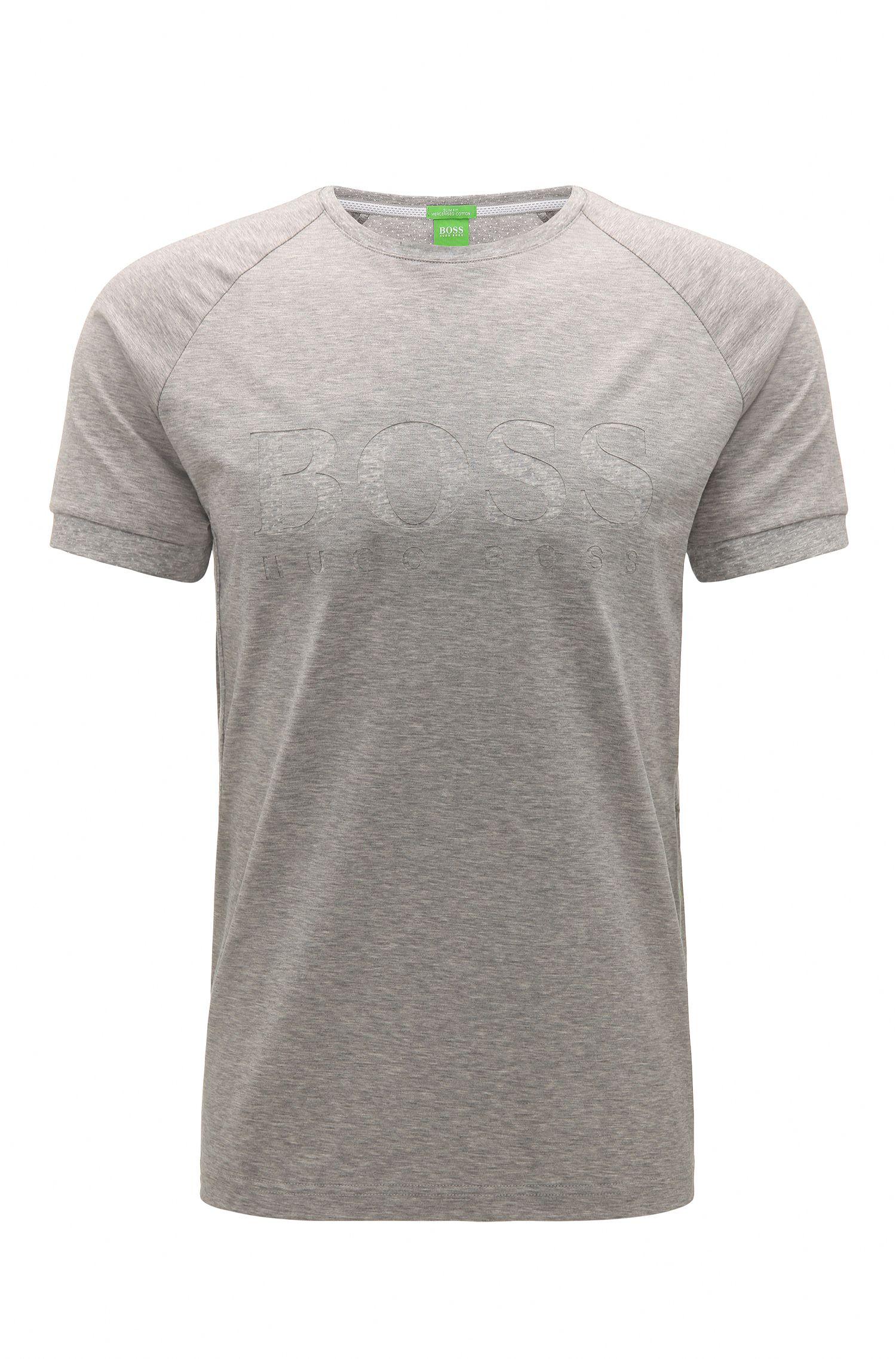 Mottled slim-fit t-shirt in stretch cotton with logo: 'Taleo'