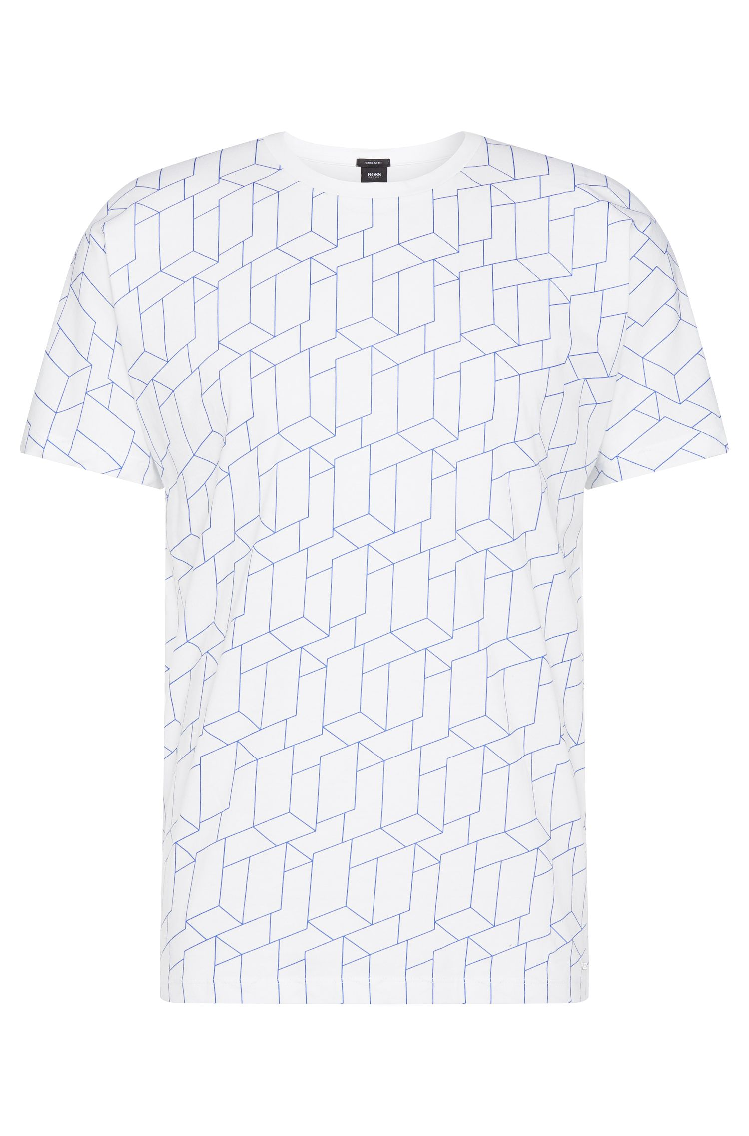 Regular-fit t-shirt in cotton with printed front: 'Tiburt 27'