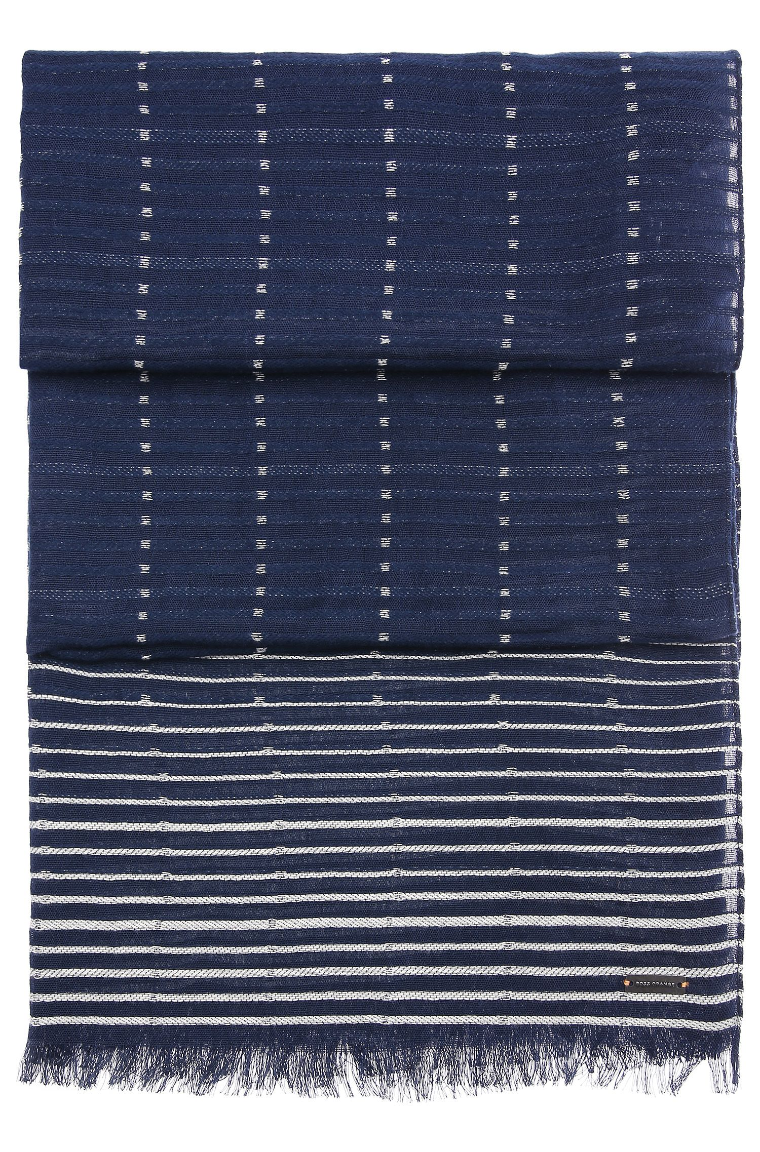 Patterned cotton scarf with stripes and short fringes: 'Nikolei'