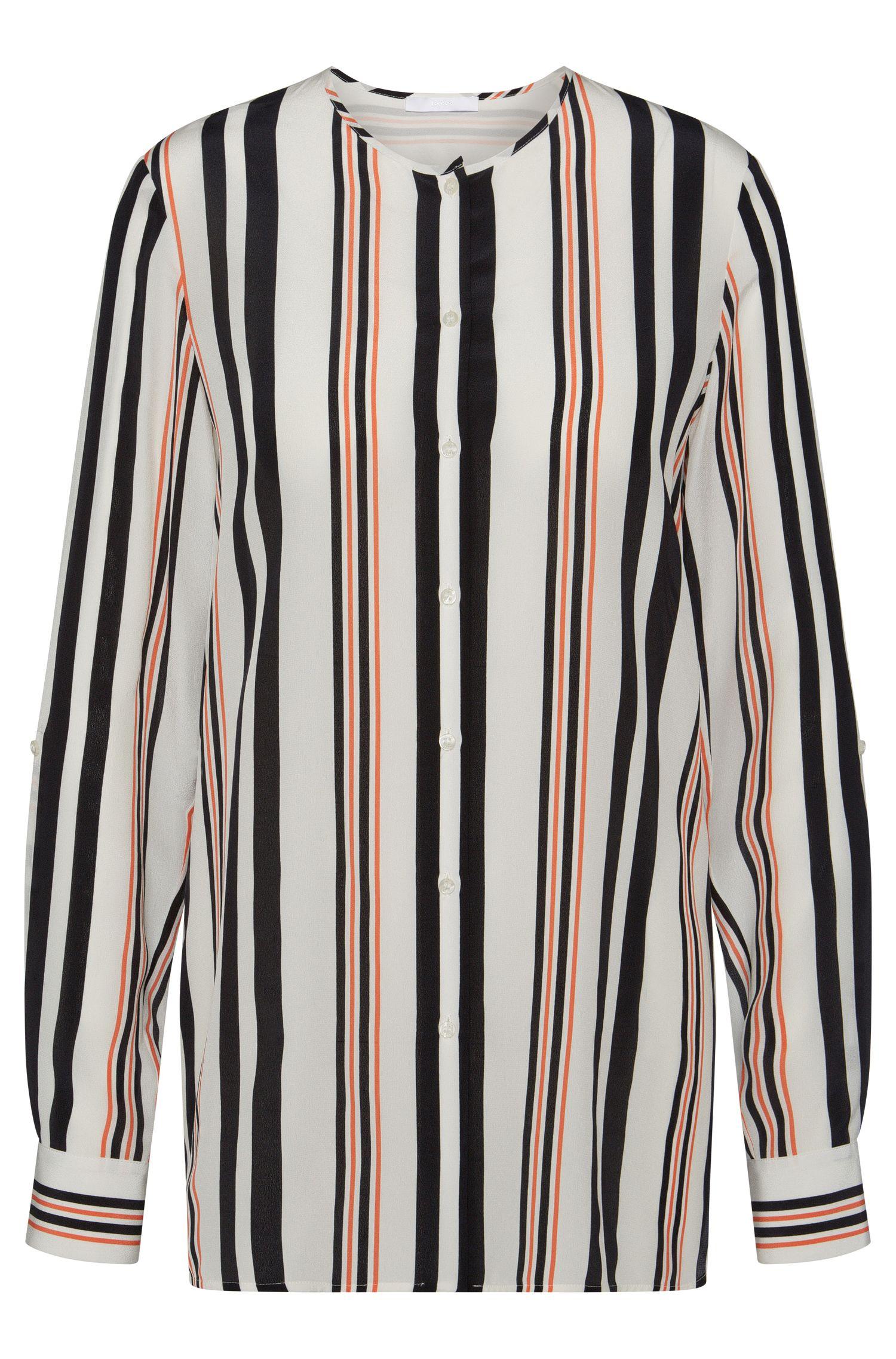 Regular-fit blouse van zuiver zijde met streepdessin: 'Relliana'