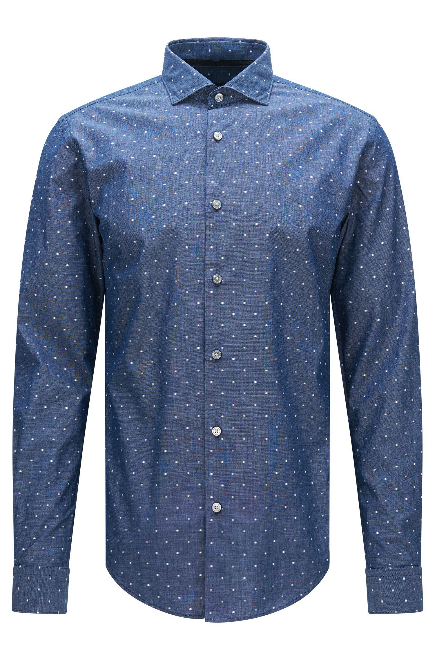 Chemise Slim Fit en coton stretch à motif et ornée de détails brodés: «Ridley_F»