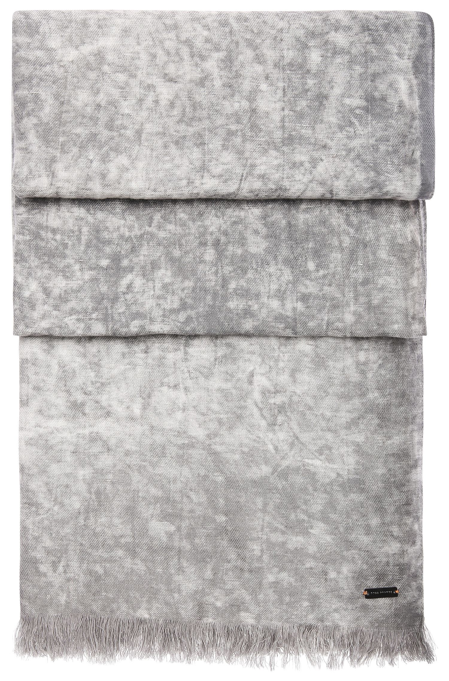 Patterned woven scarf in cotton blend with linen: 'Nuran'