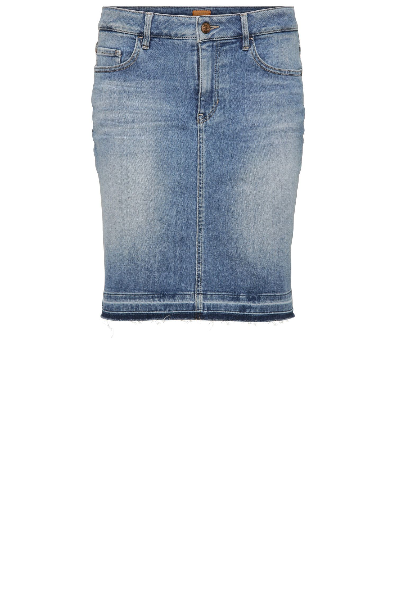 Short jeans skirt in stretchy cotton blend: 'Orange J90 Newark'