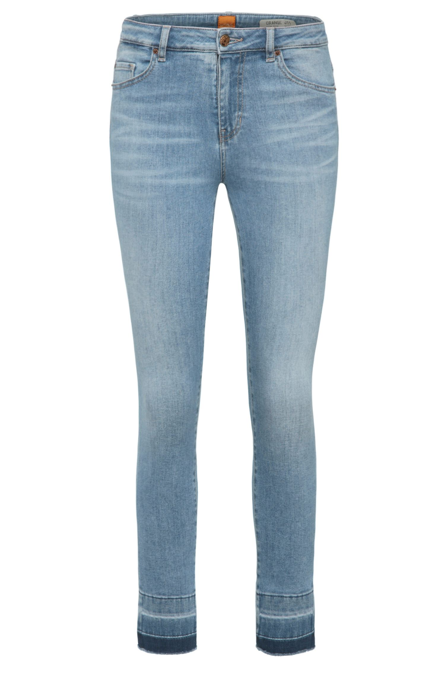Skinny-fit jeans van een elastische katoenmix in used-look: 'Orange J11 Mariposa'