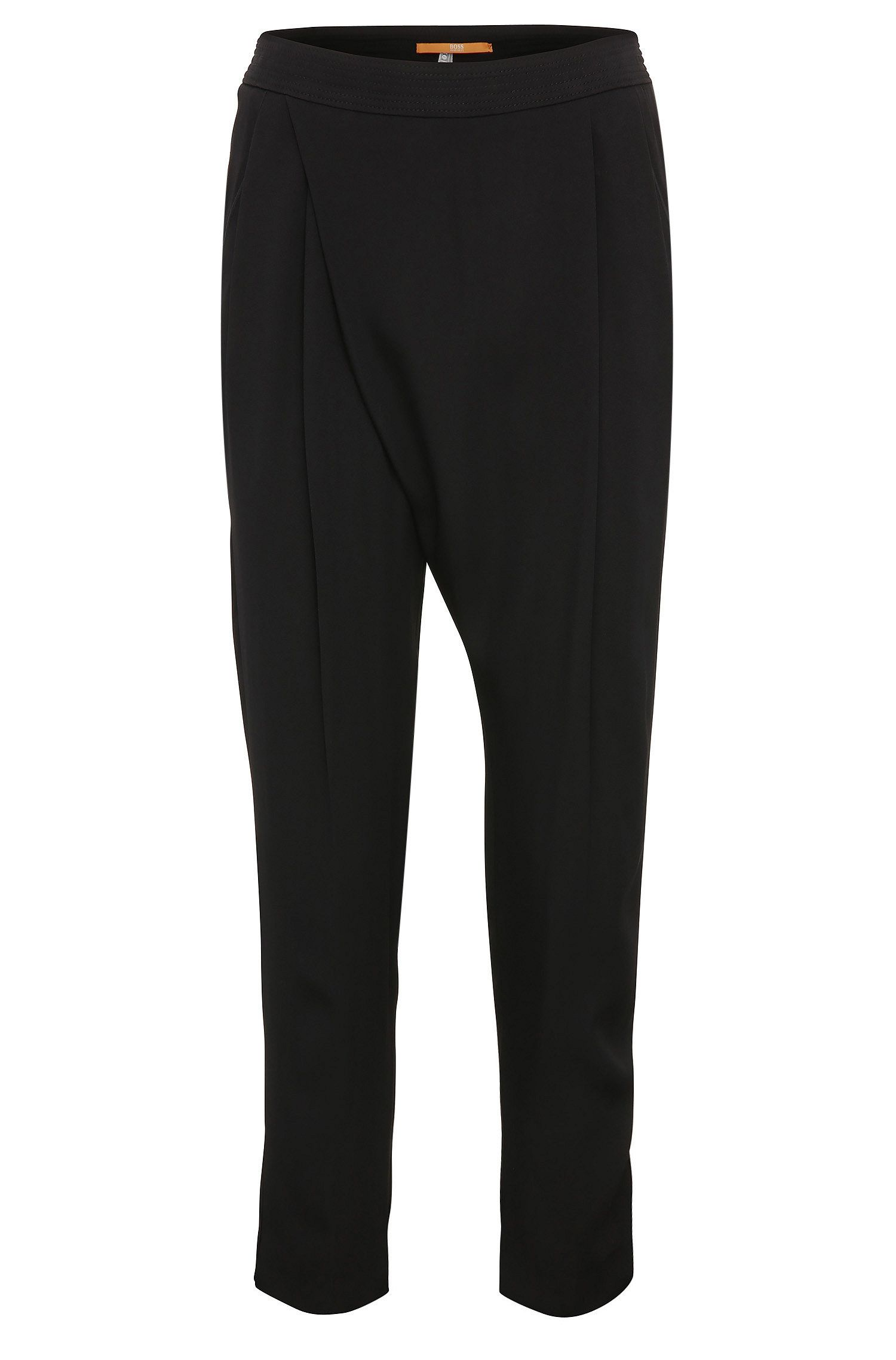 Regular-fit 7/8 suit trousers in material blend with viscose: 'Samilli'