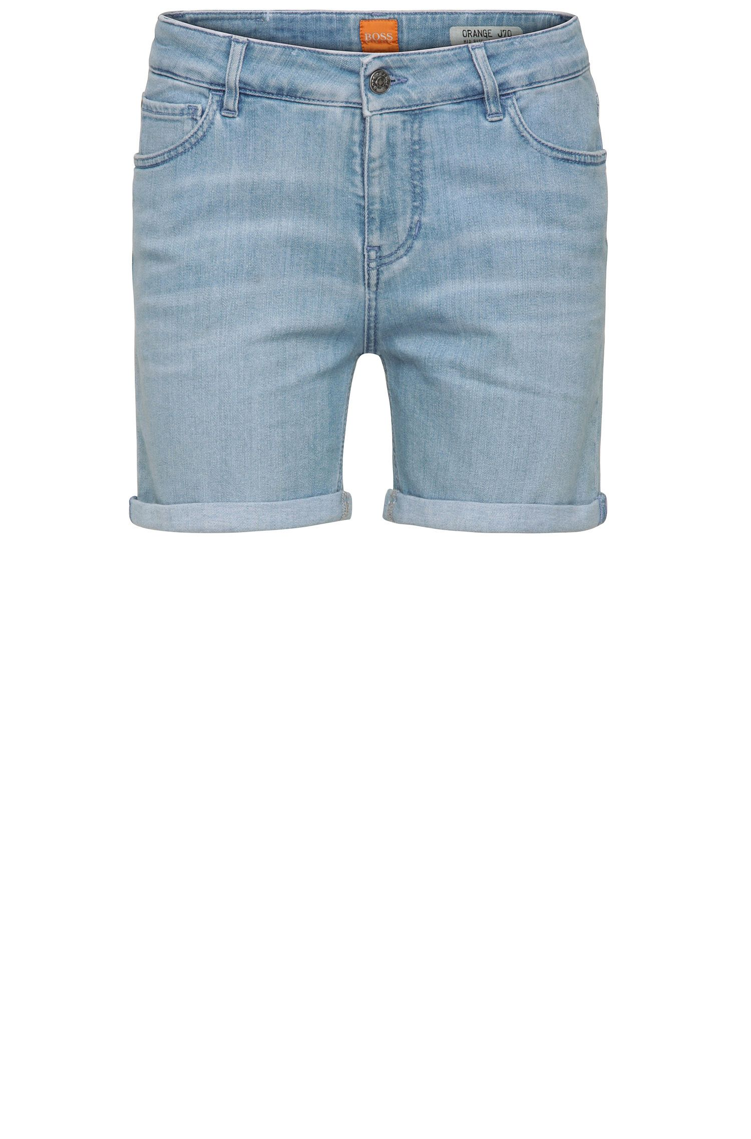 Relaxed jeans shorts in stretchy cotton blend: 'Orange J70 Hershey'
