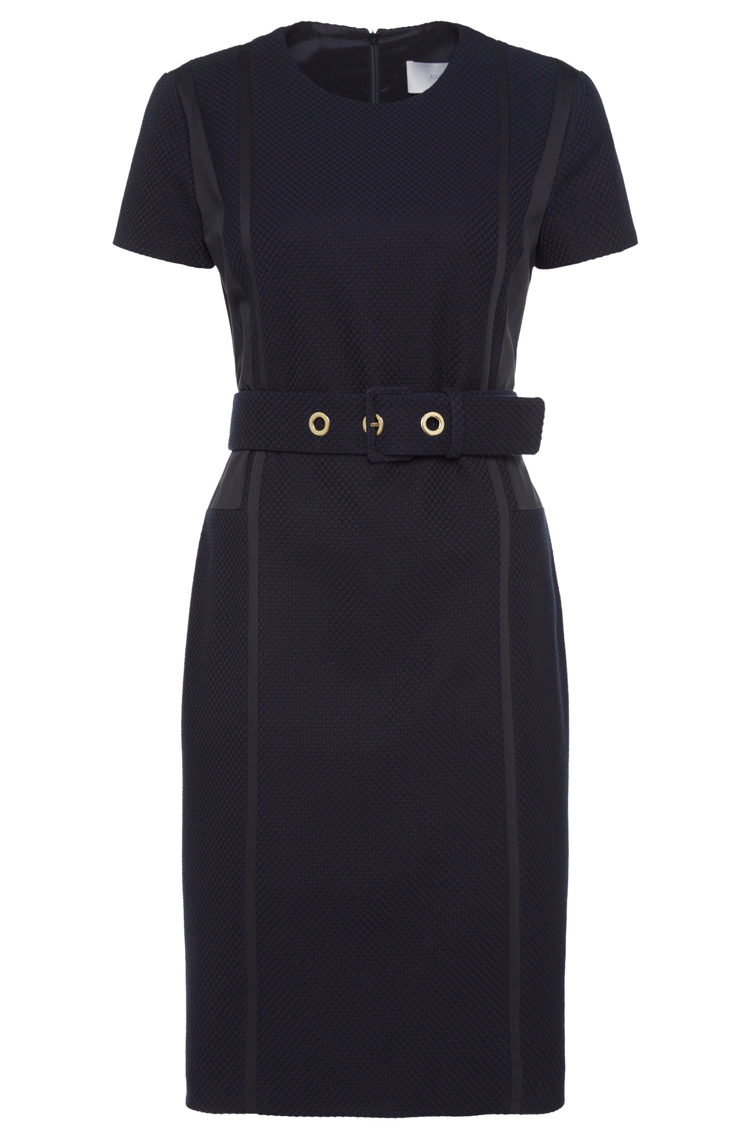 Textured sheath dress in a stretchy cotton blend with viscose: 'Daebina'