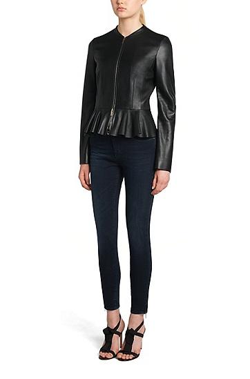 Slim-Fit Jeans aus Baumwoll-Mix in Cropped-Länge: 'Nafice Zip', Dunkelblau