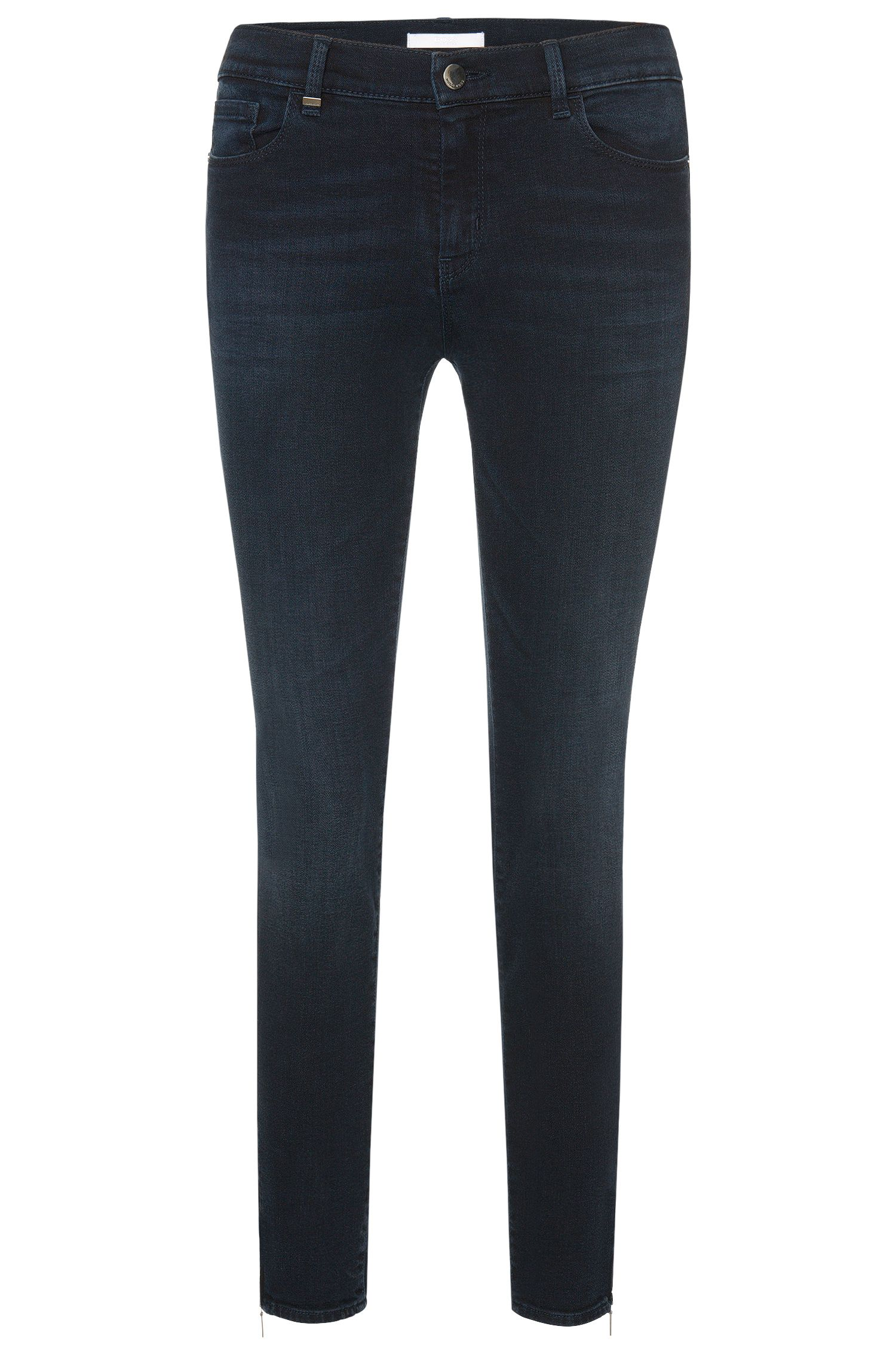 Slim-Fit Jeans aus Baumwoll-Mix in Cropped-Länge: 'Nafice Zip'