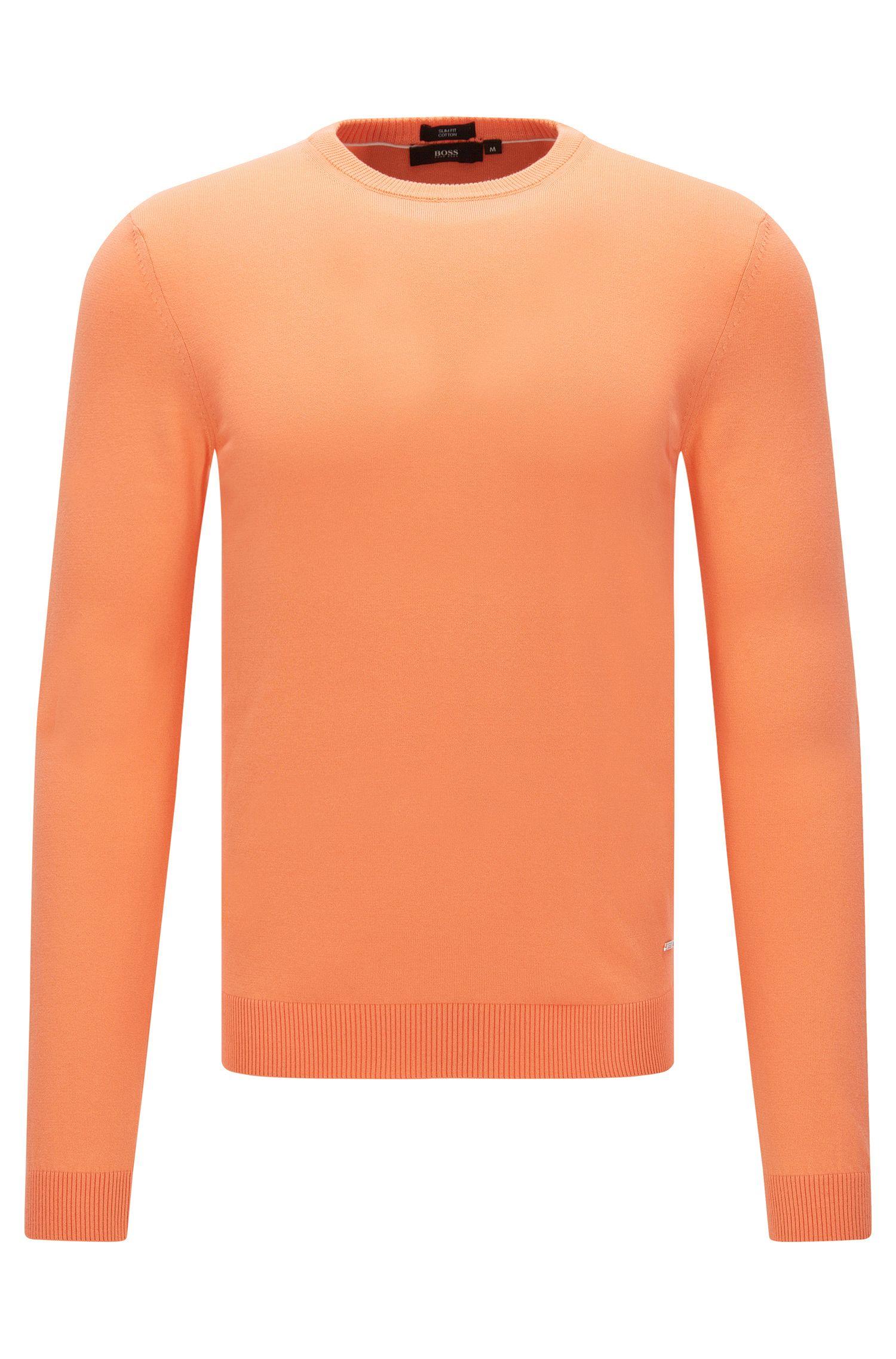 Plain-coloured slim-fit sweater in cotton: 'Fabello-O'