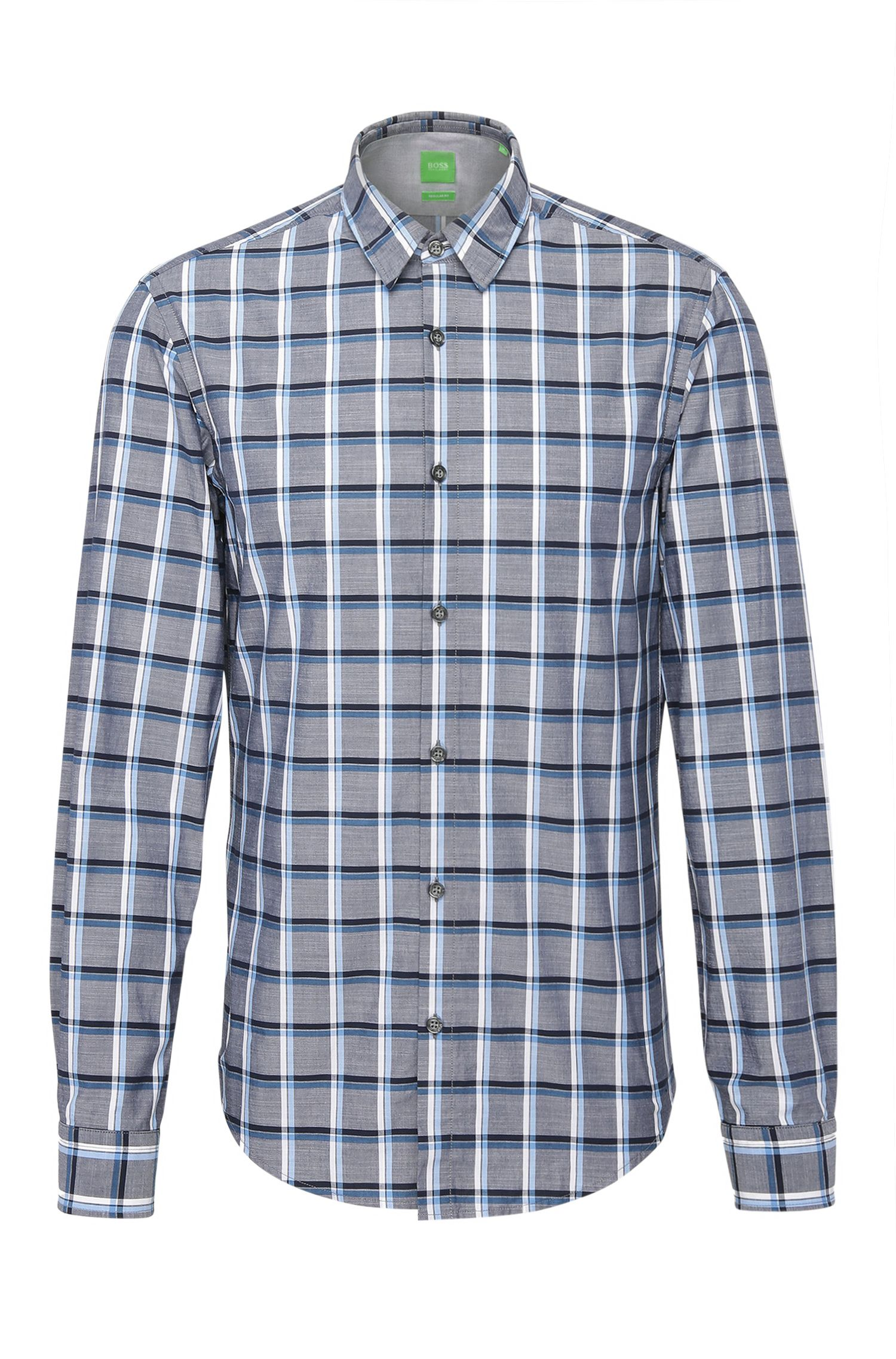 Checked regular-fit cotton shirt: 'C-Bustai'
