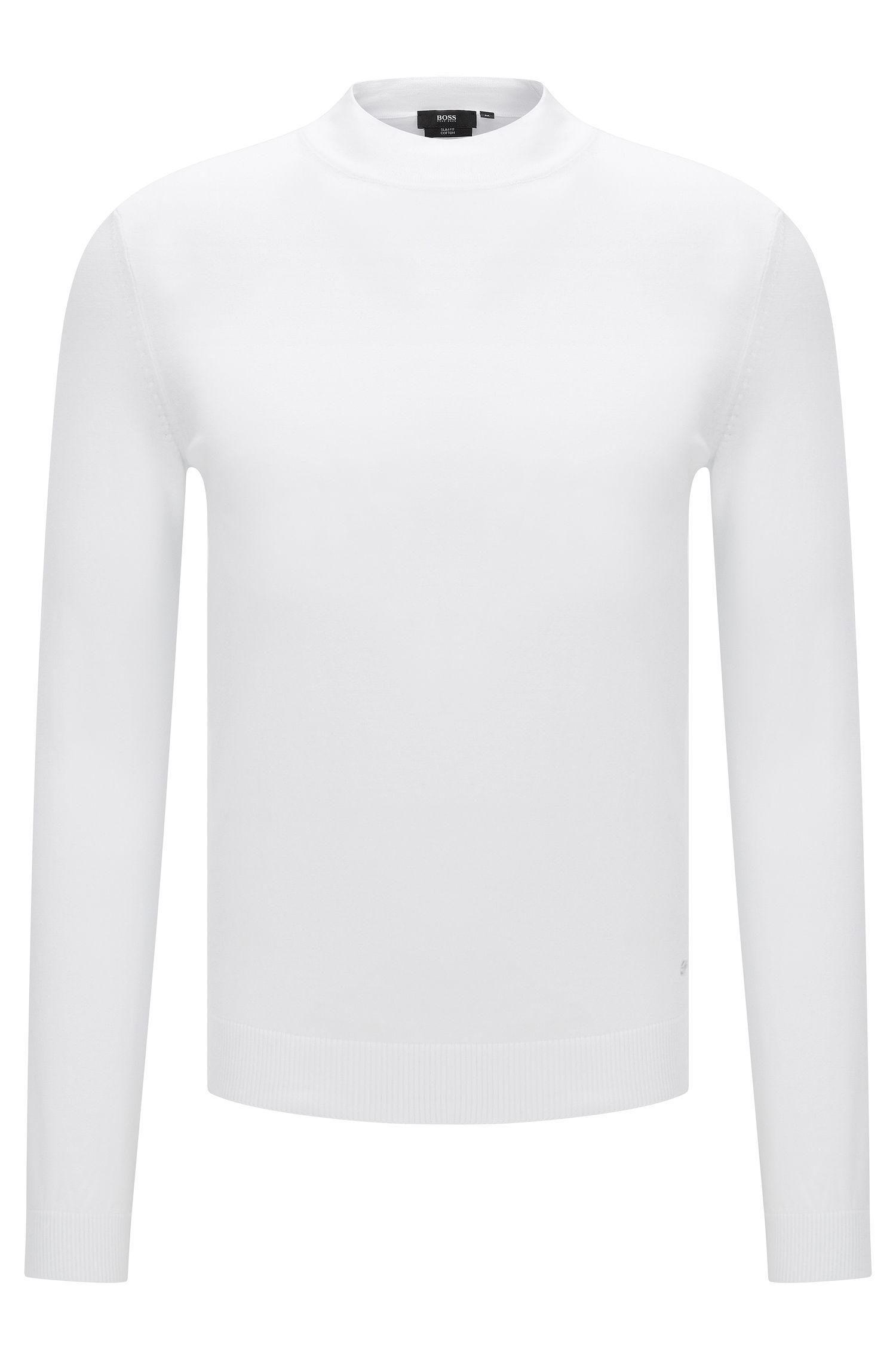 Slim-fit sweater in cotton with band collar: 'Olfrino'