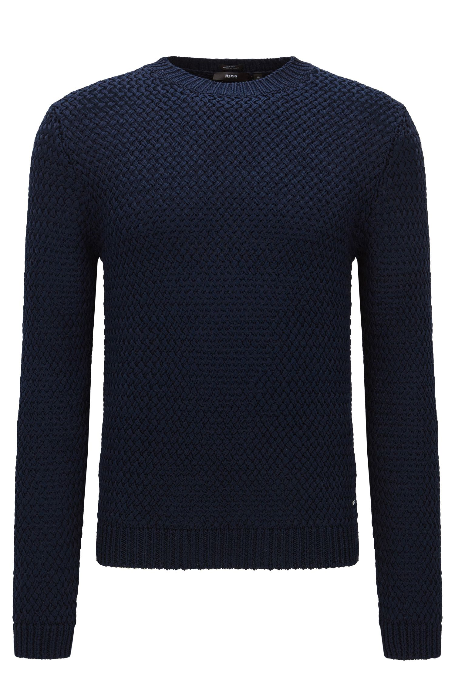 Plain-coloured slim-fit sweater in cotton: 'Olex'