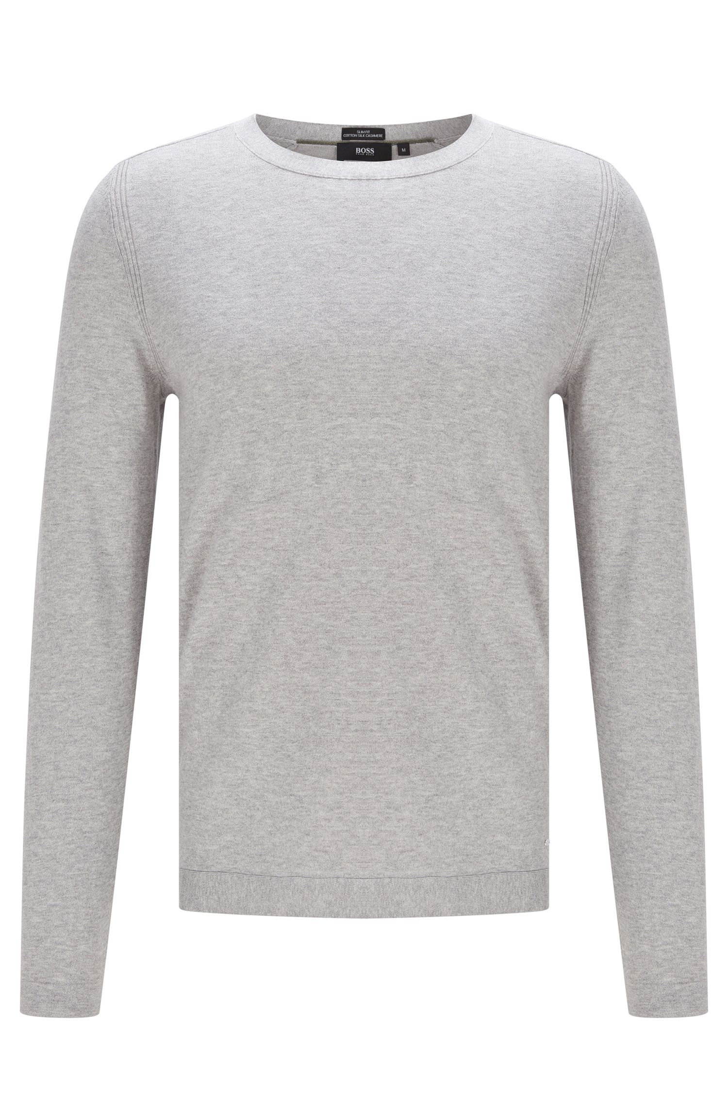 Fein melierter Slim-Fit Pullover aus Baumwoll-Mix mit Seide und Kaschmir: 'Onario'