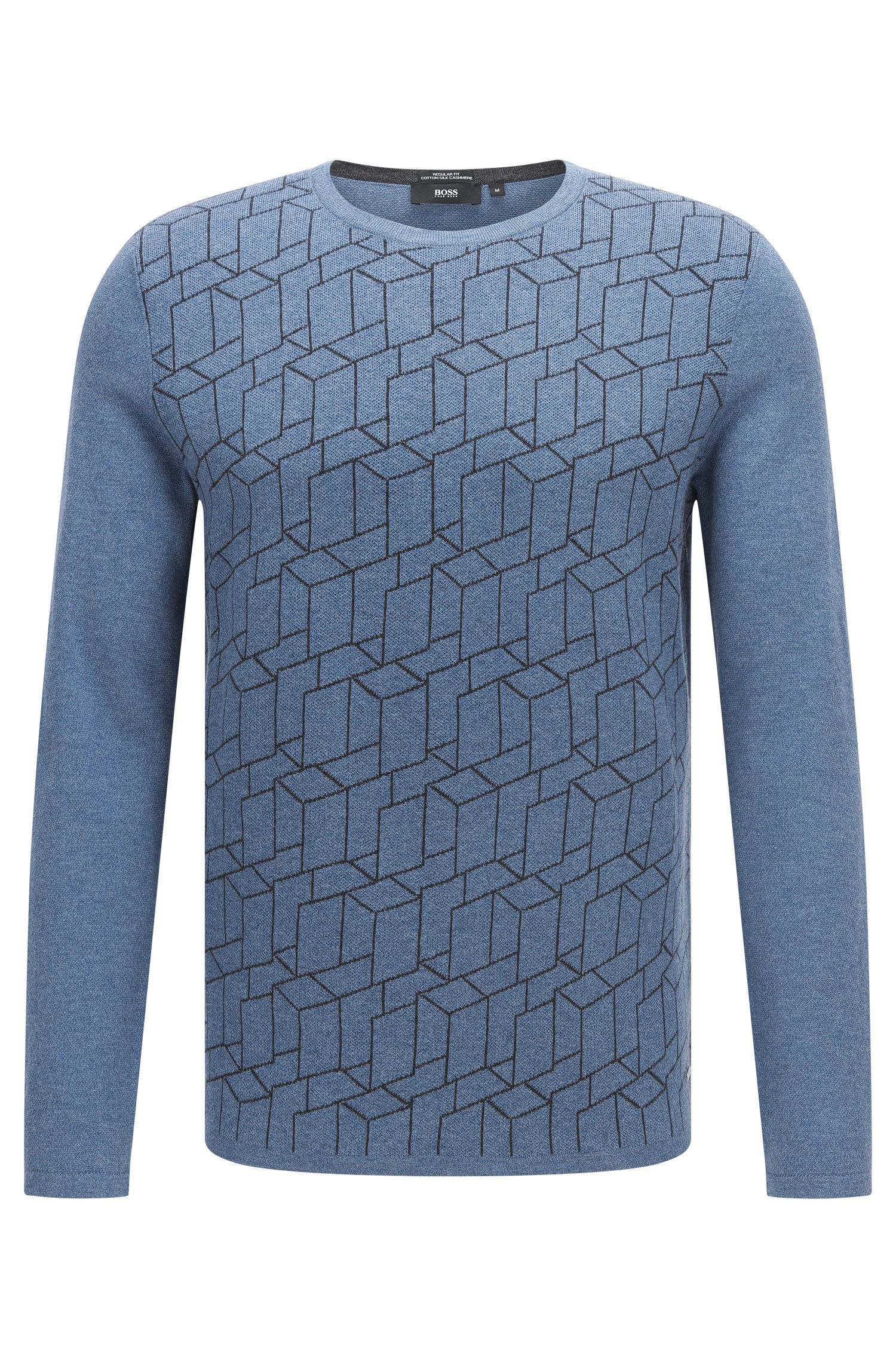 Regular-fit sweater in cotton blend with silk and cashmere: 'Ondo'
