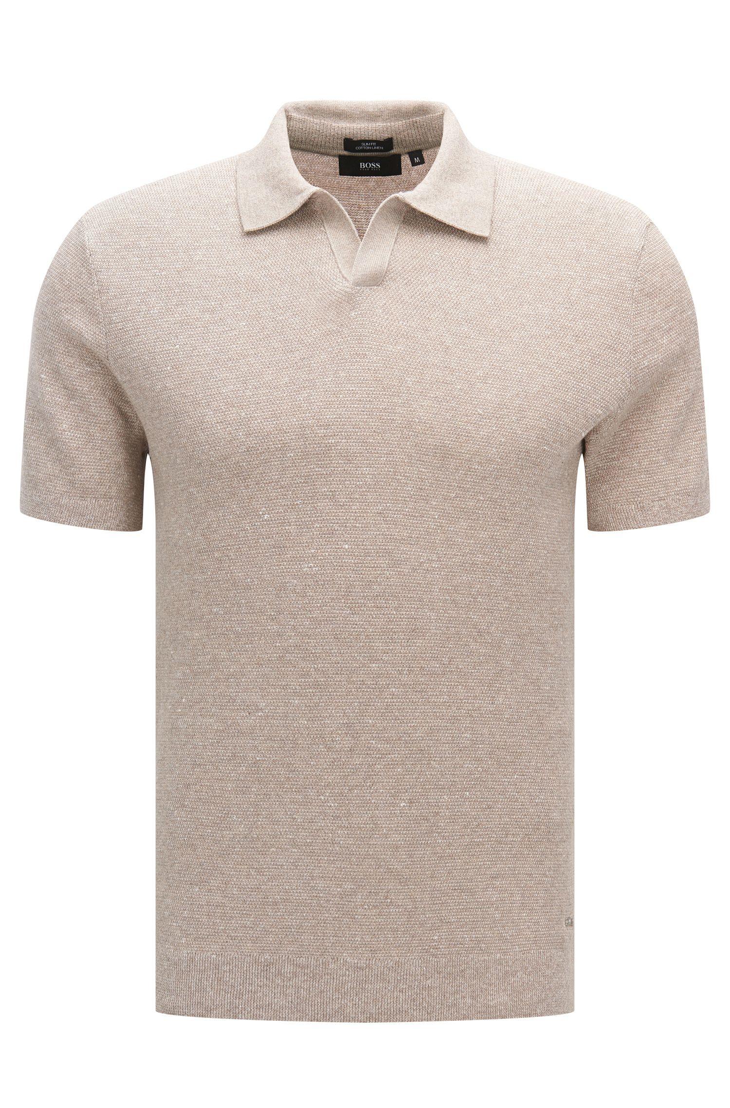 Slim-fit trui met korte mouwen, van een katoenmix met linnen: 'Orenzo'