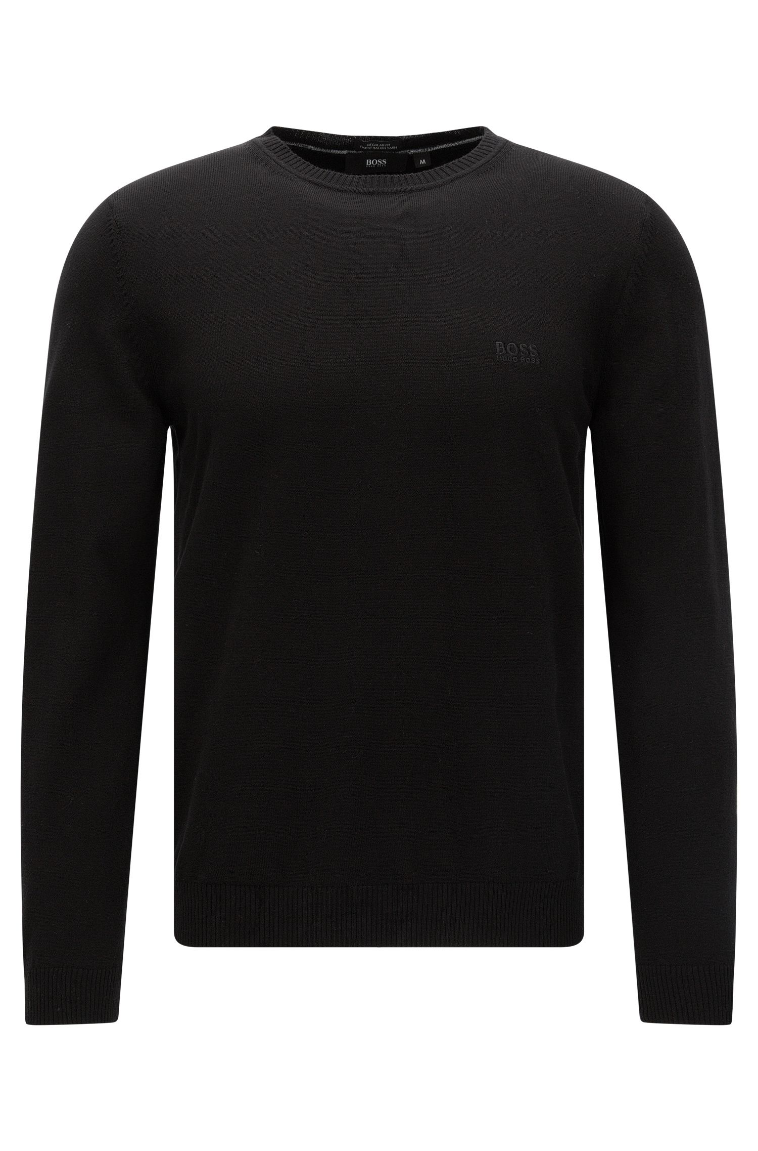 Regular-fit sweater in cotton with a round neckline: 'Finello-O'