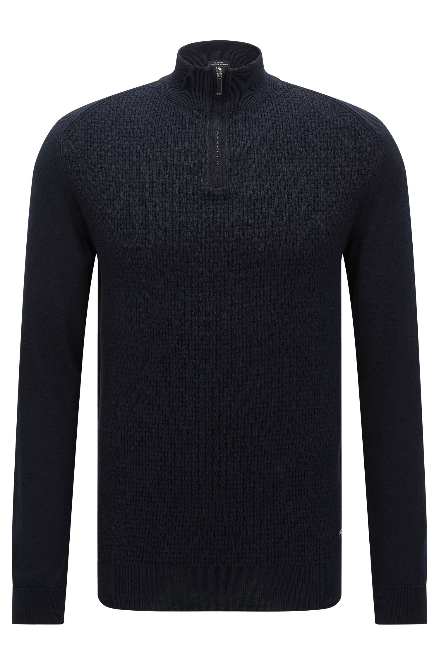 Regular-fit sweater in cotton with zip collar: 'Odino'