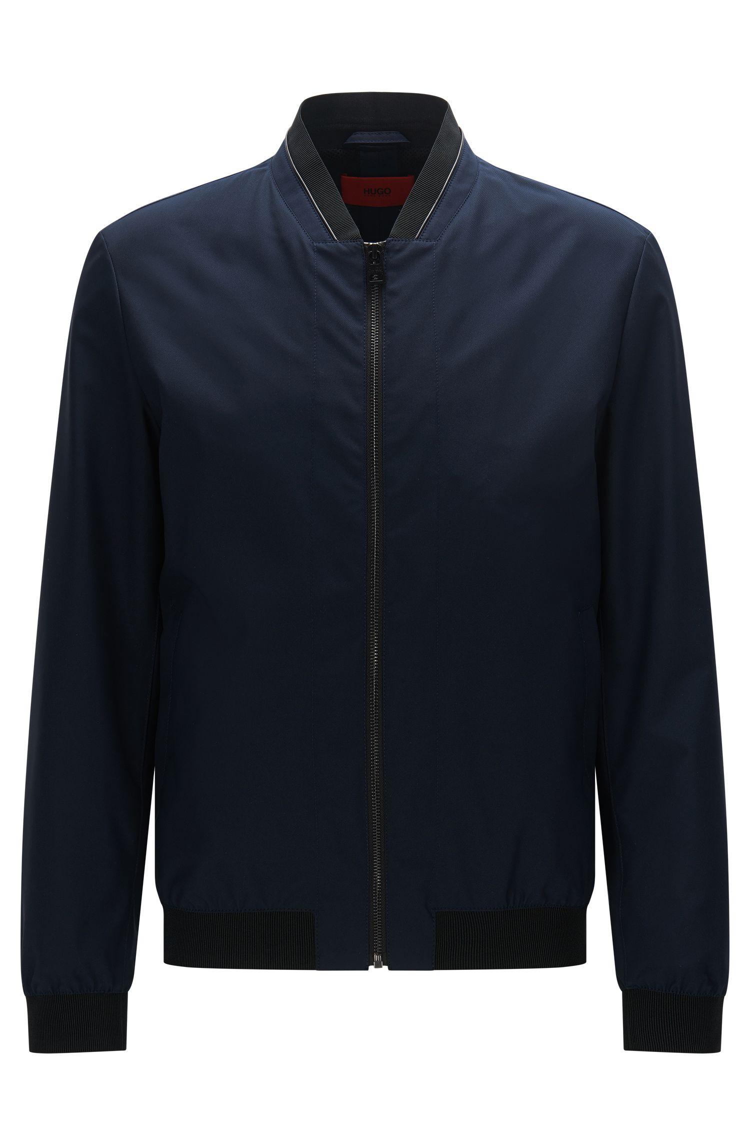 Regular-Fit Jacke aus Material-Mix mit Details in Leder-Optik: 'Bestan1'