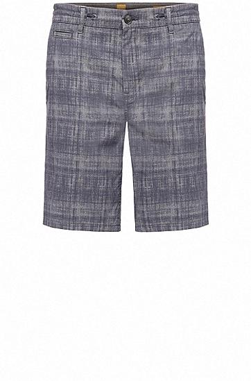 Short à carreaux Tapered Fit en coton extensible : « Siman-Shorts-W »