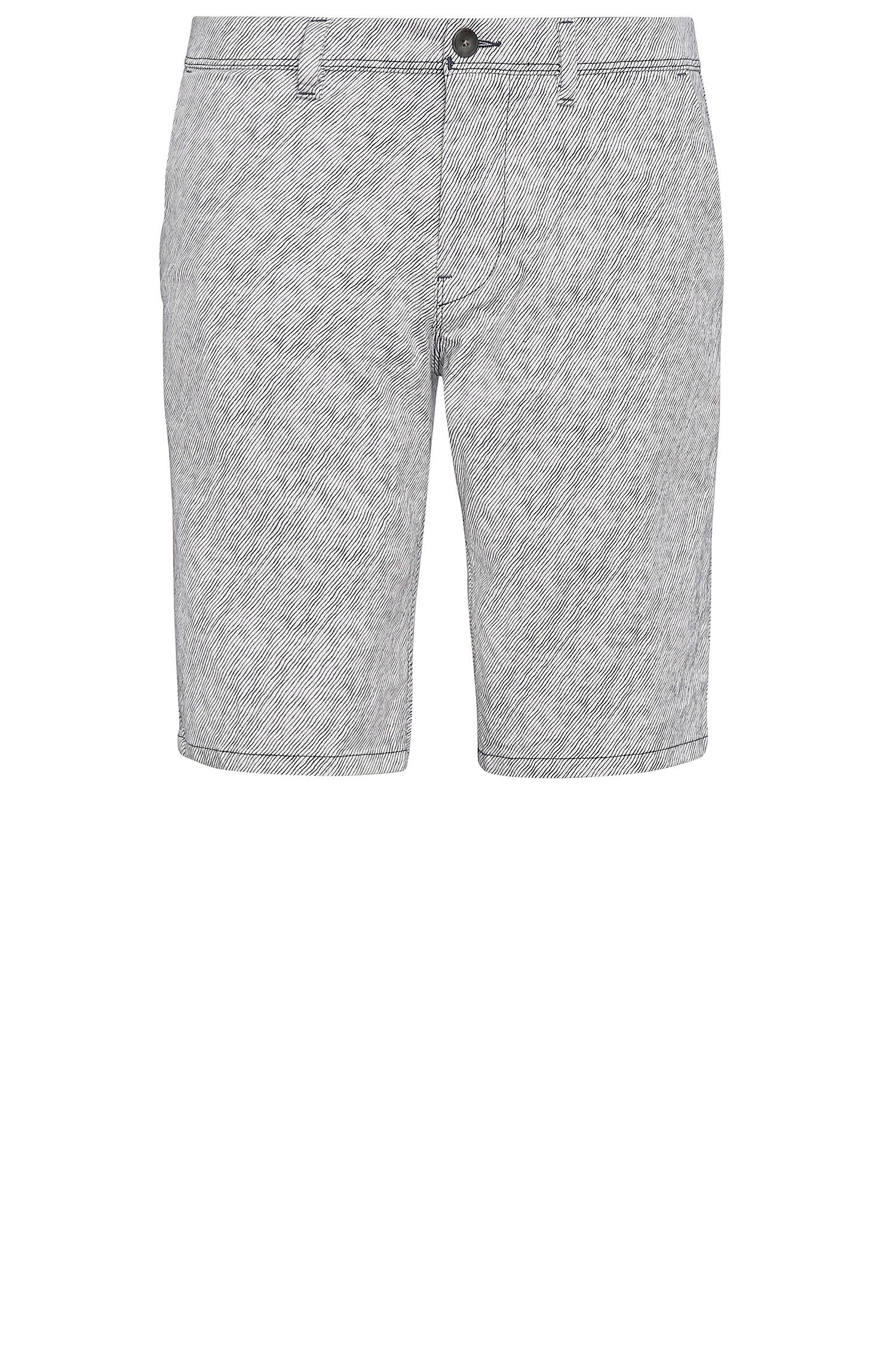 Striped slim-fit shorts in stretch cotton: 'Slender-Shorts-W'