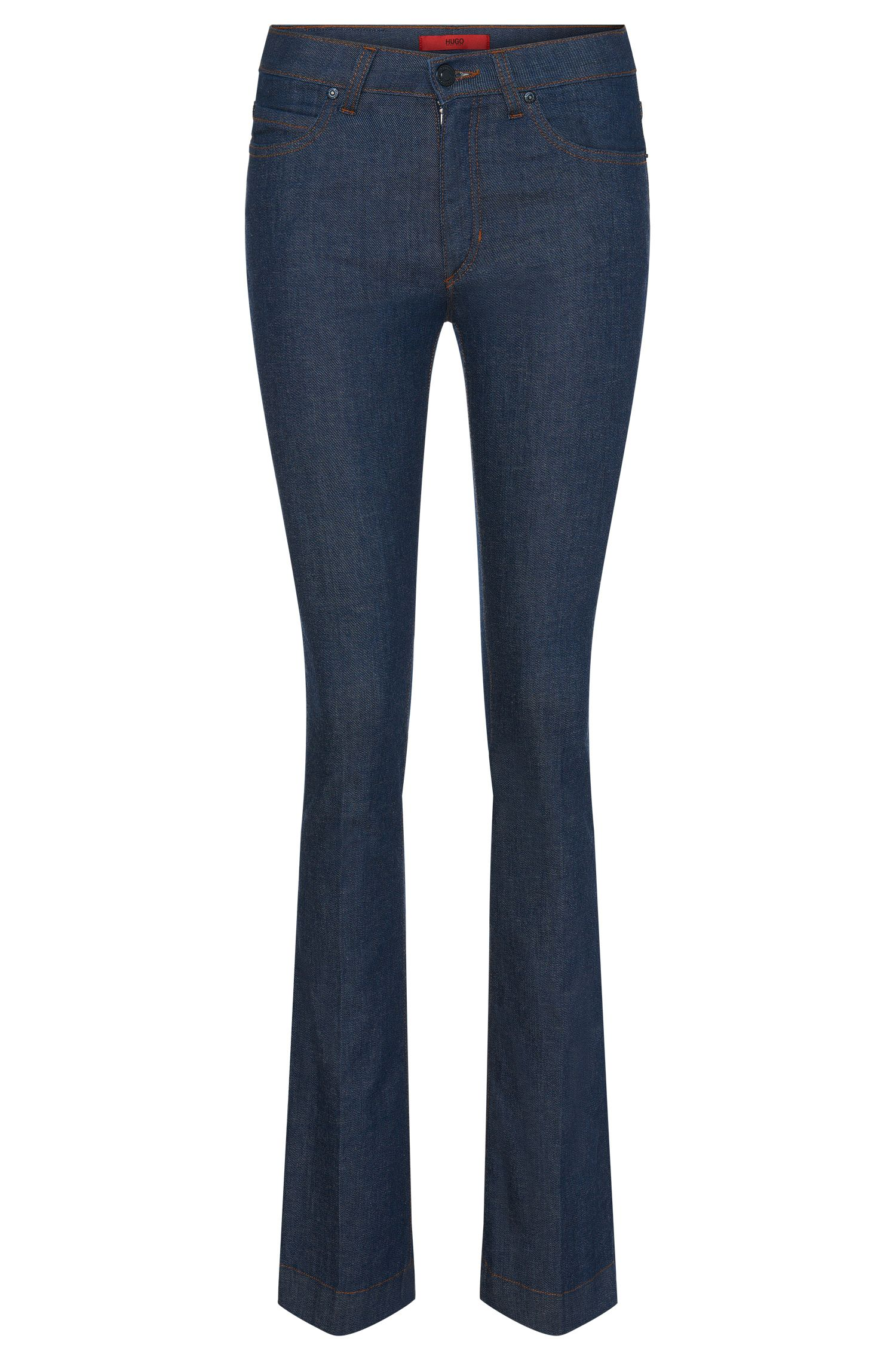 Skinny-fit jeans in cotton blend with flares: 'Ginas'
