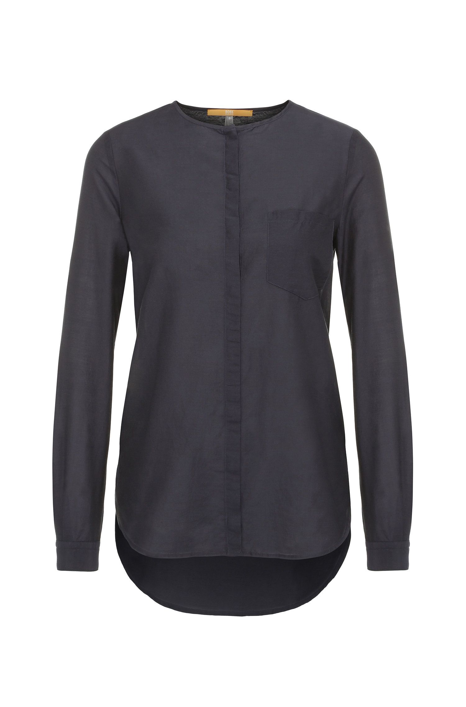 Regular-fit blouse in cotton and silk: 'Eflo'