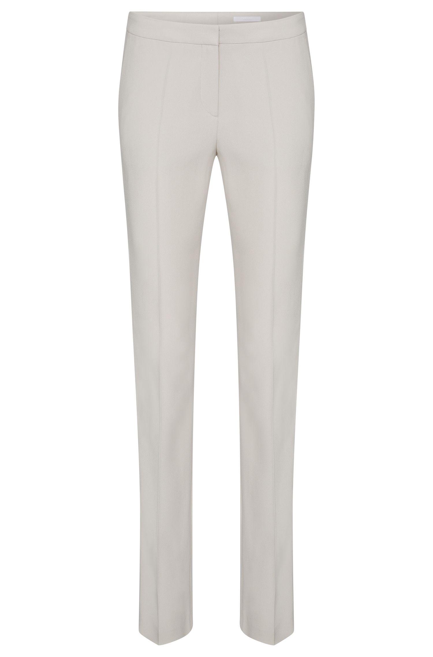 Regular-fit broek van een materiaalmix met contrasterende inzetstukken: 'Tatila'