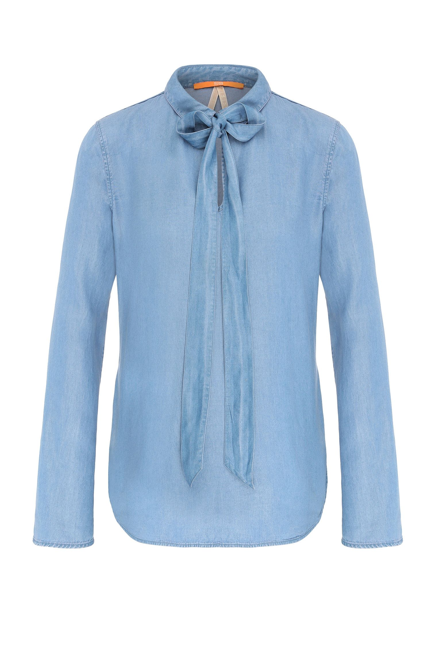 Regular-fit pussycat bow blouse in denim quality: 'Celtis'
