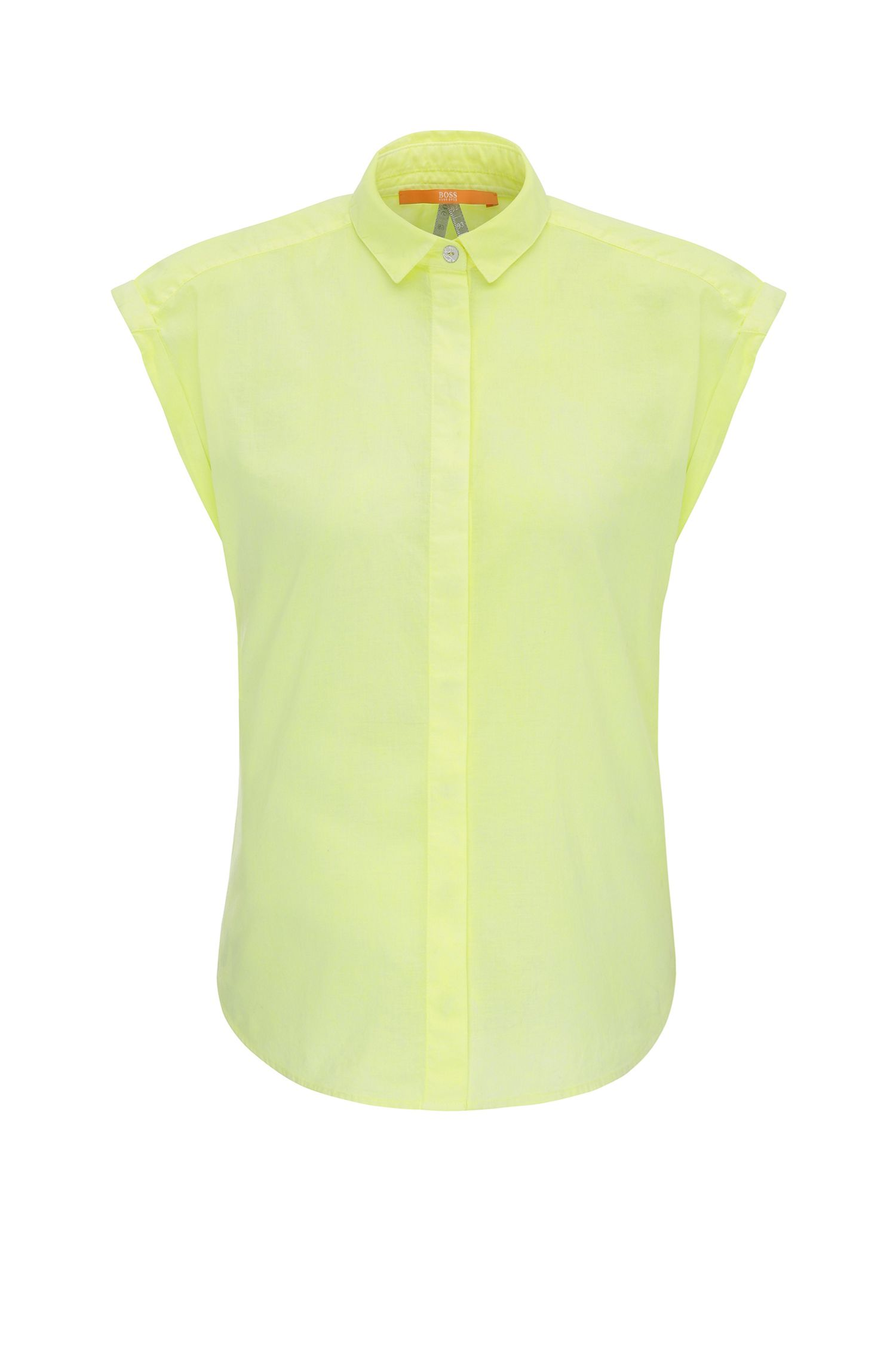 Relaxed-fit sleeveless blouse in cotton: 'Curta'