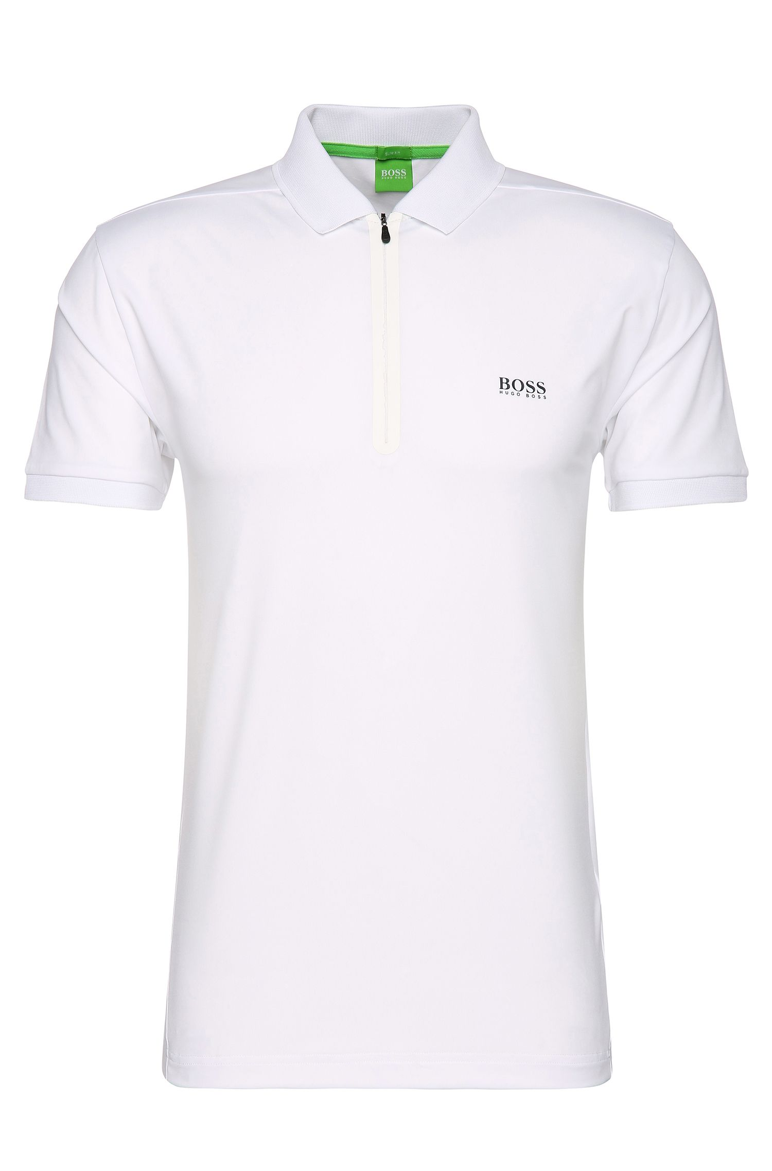 Slim-fit polo shirt in stretchy fabric blend: 'Pavotech'