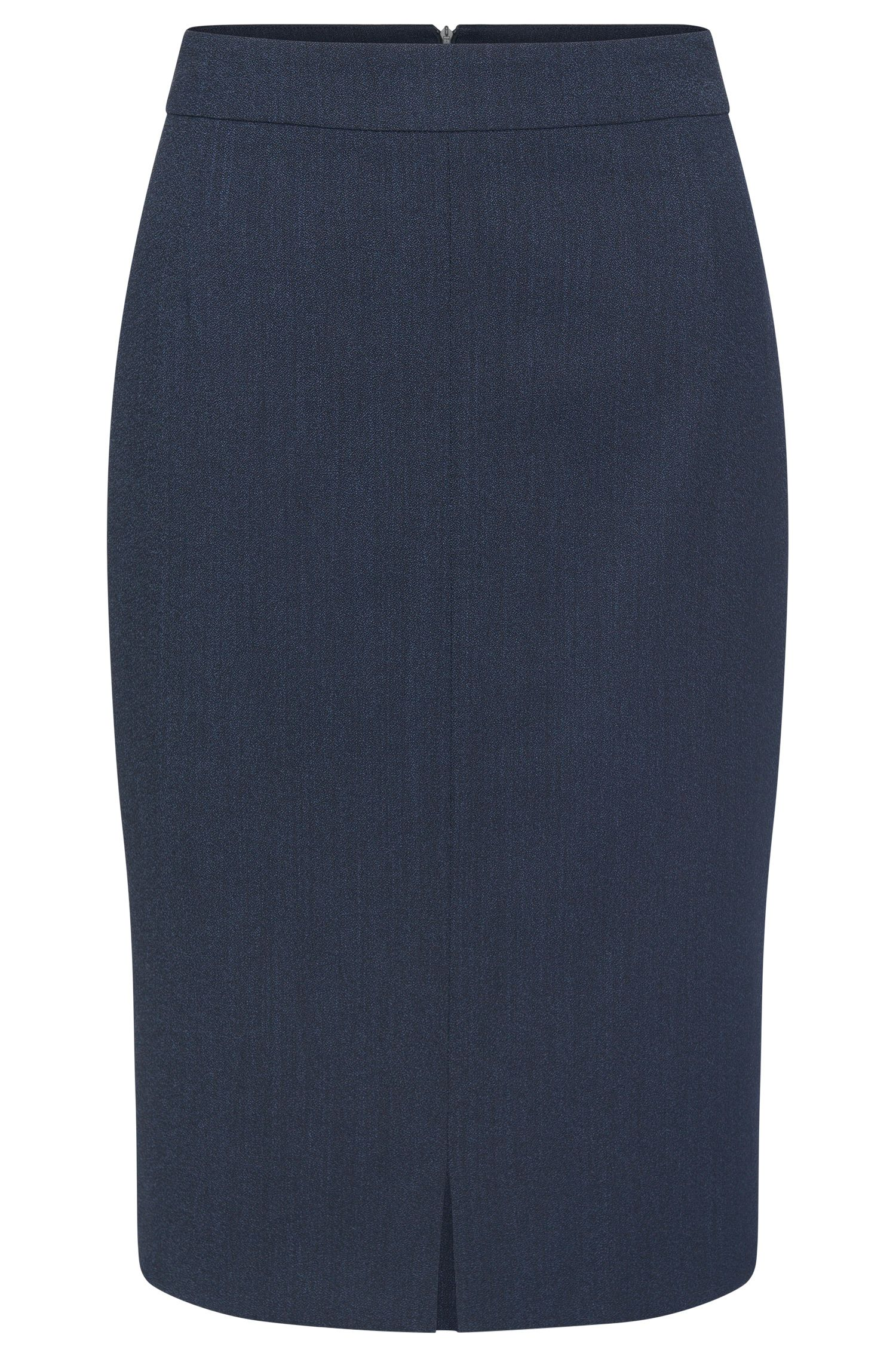 Pencil skirt with a walking slit at the front in stretch new wool: 'Valesana'
