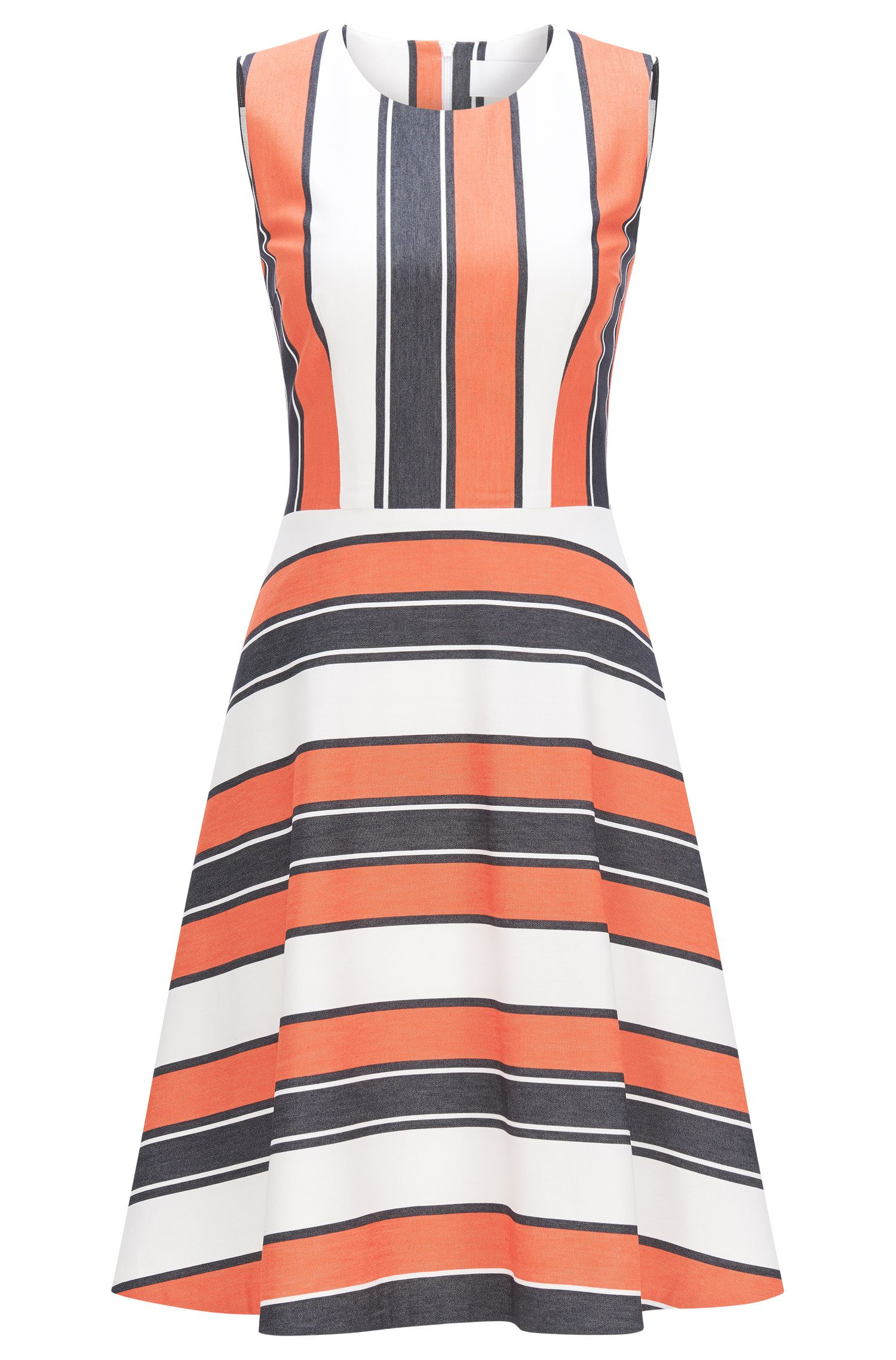 Striped dress in stretch cotton blend with viscose: 'Himelly'