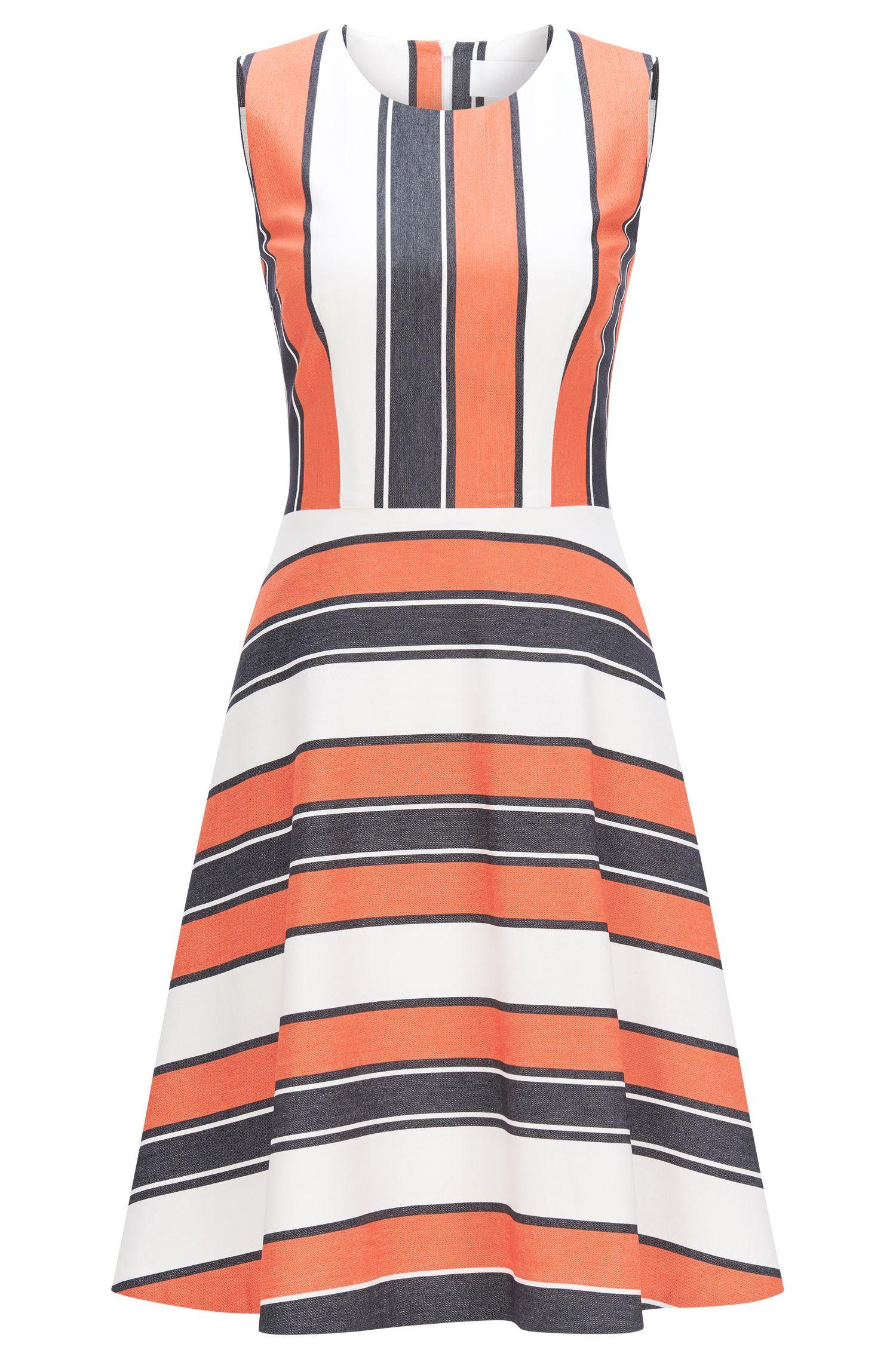 Gestreepte jurk van een elastische katoenmix met viscose: 'Himelly'
