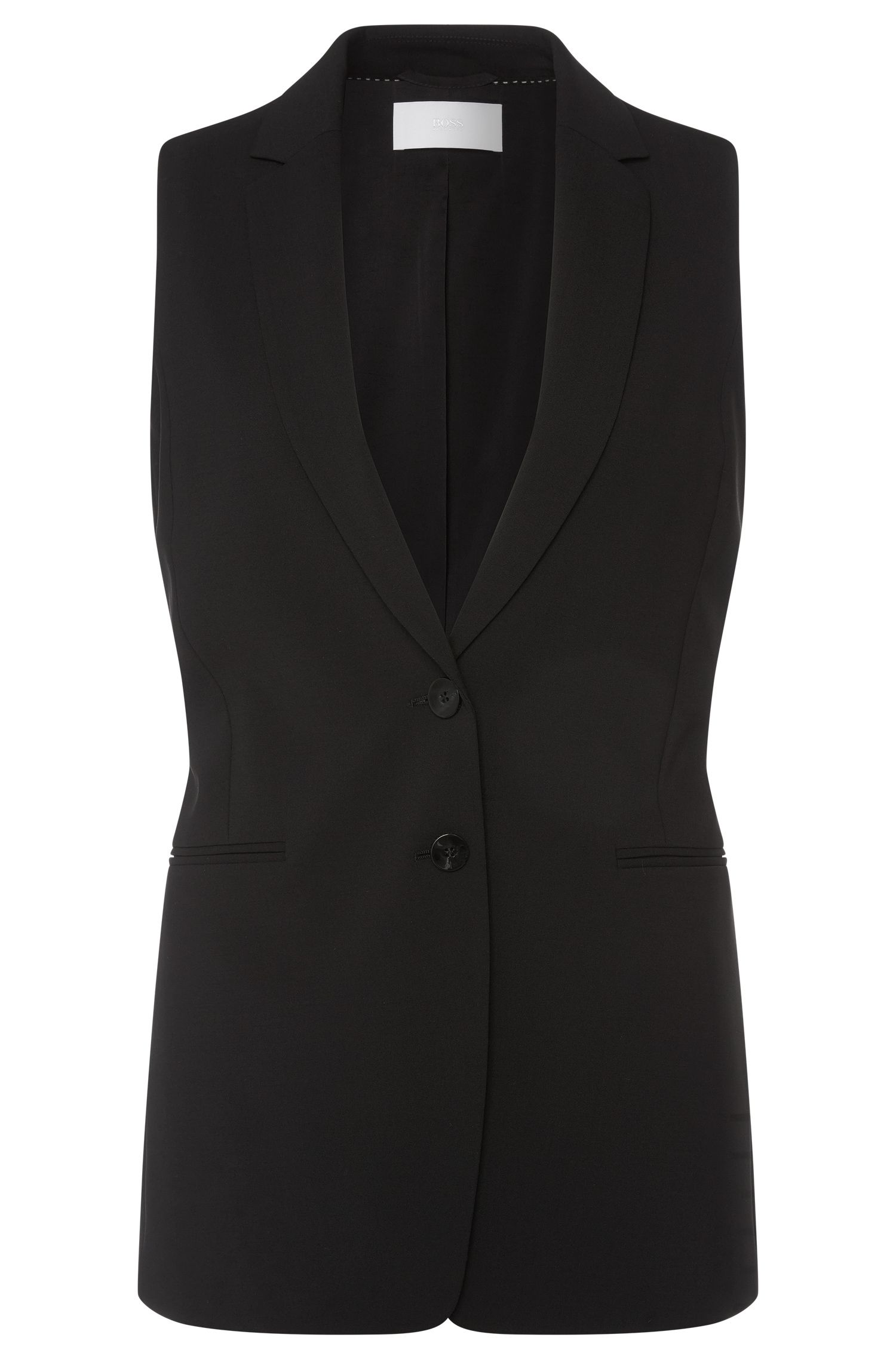 Fitted waistcoat in stretch new wool: 'Jemesia'